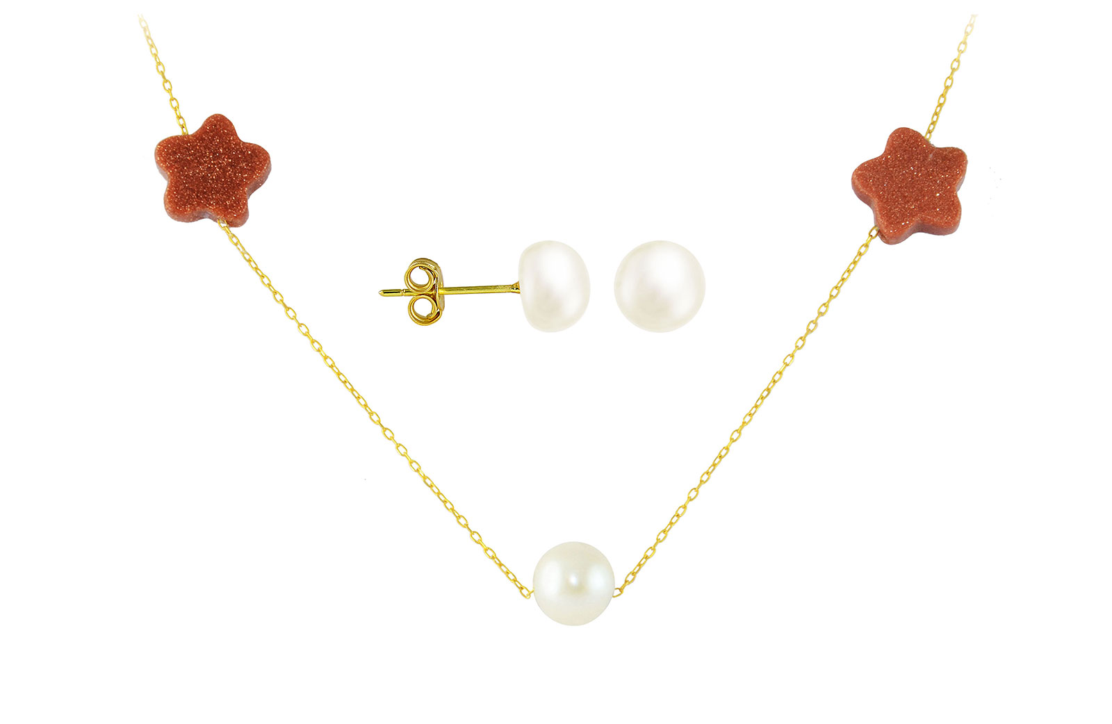 Vera Perla 10K  Solid Gold Star Sunstones and Pearl Necklace+ 10K Gold 7mm Pearl Earrings