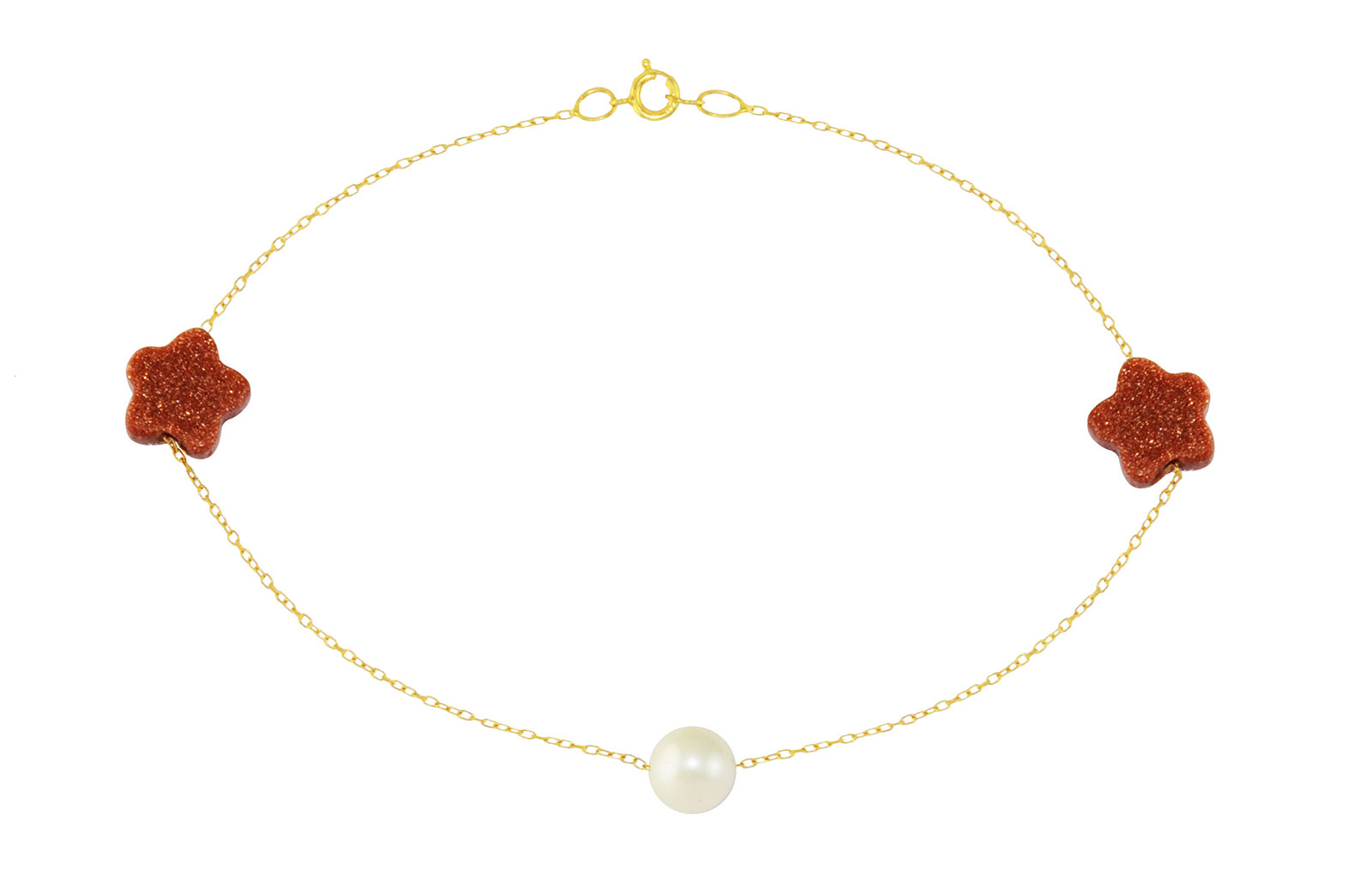 Vera Perla 10K Solid Gold Star Sunstones and Pearl  Bracelet