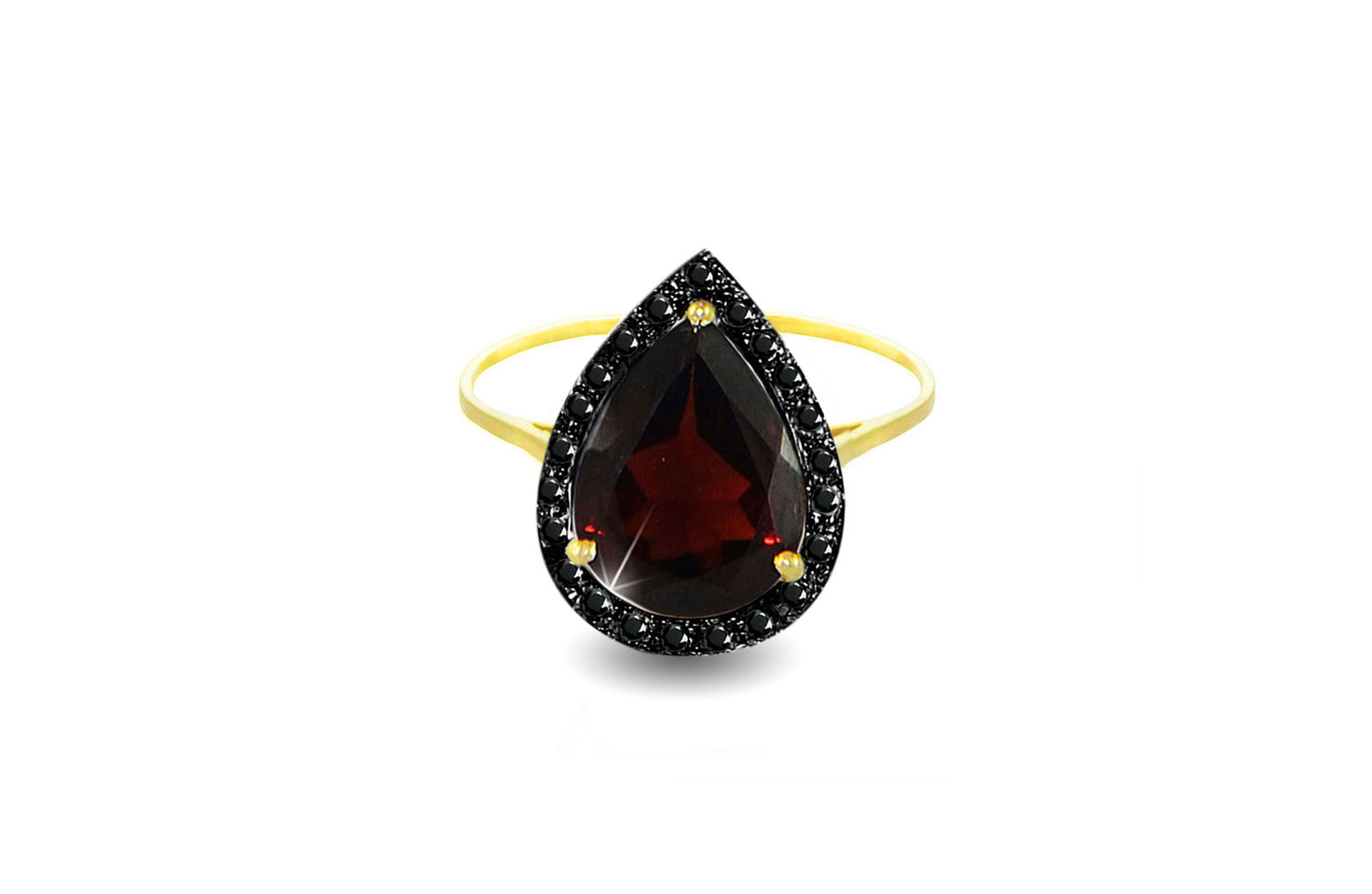 Vera Perla 18K Gold 0.12Ct Genuine Black Diamonds Garnet Ring