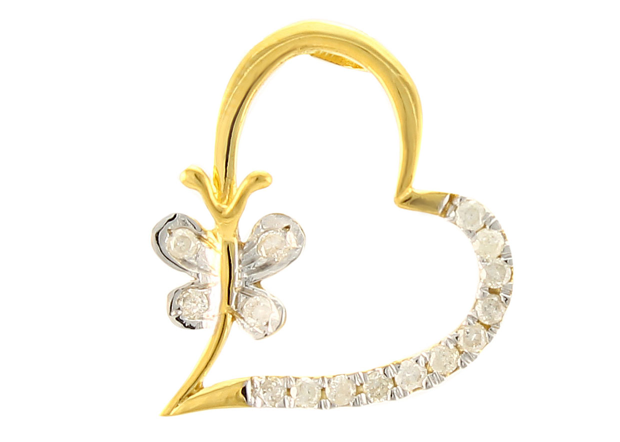Vera Perla 18K Solid Gold and 0.15Cts Diamonds Butterfly Heart Pendant