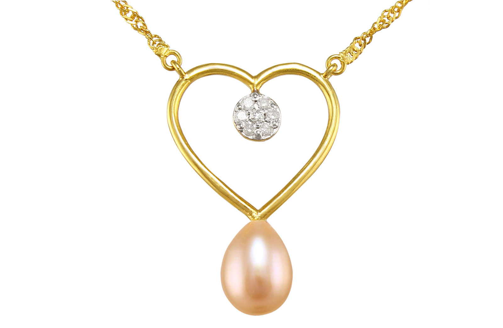 VP Jewels 18K Solid Gold 0.07ct Genuine Diamond and 7mm Pink Pearl Heart Pendant Necklace