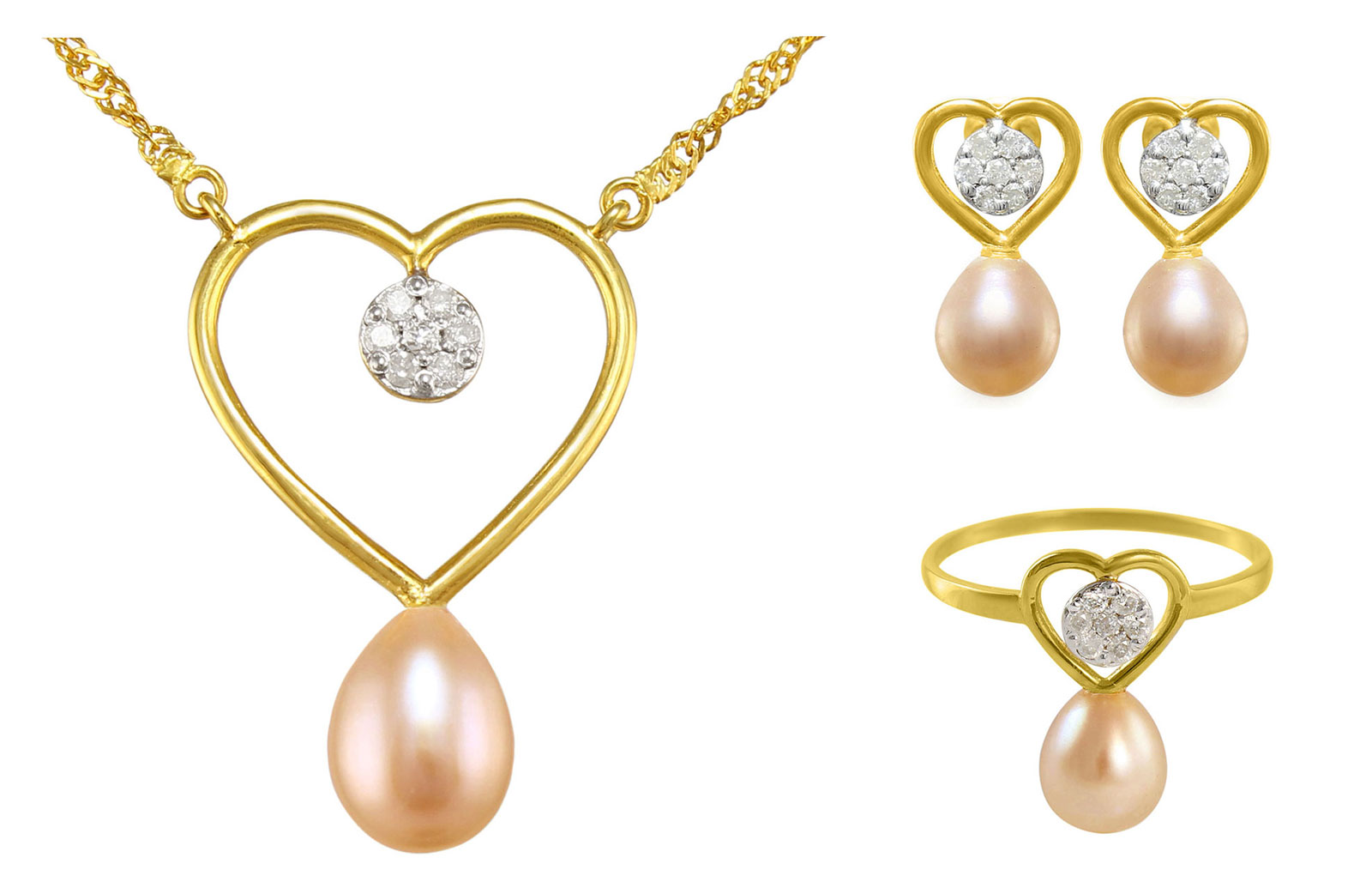 VP Jewels: 18k Solid Gold Diamonds 7mm Pink Pearls Solitaire Heart Earrings, Ring and Necklace Set