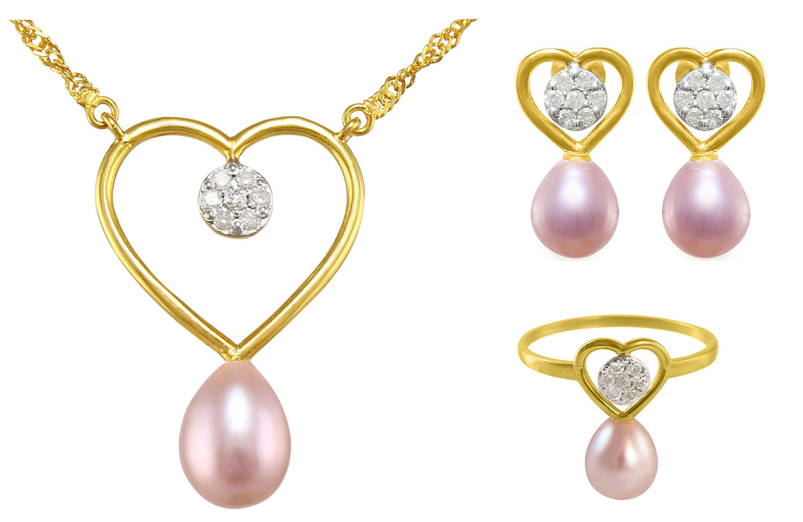 VP Jewels: 18k Solid Gold Diamonds 7mm Purple Pearls Solitaire Heart Earrings, Ring and Necklace Set