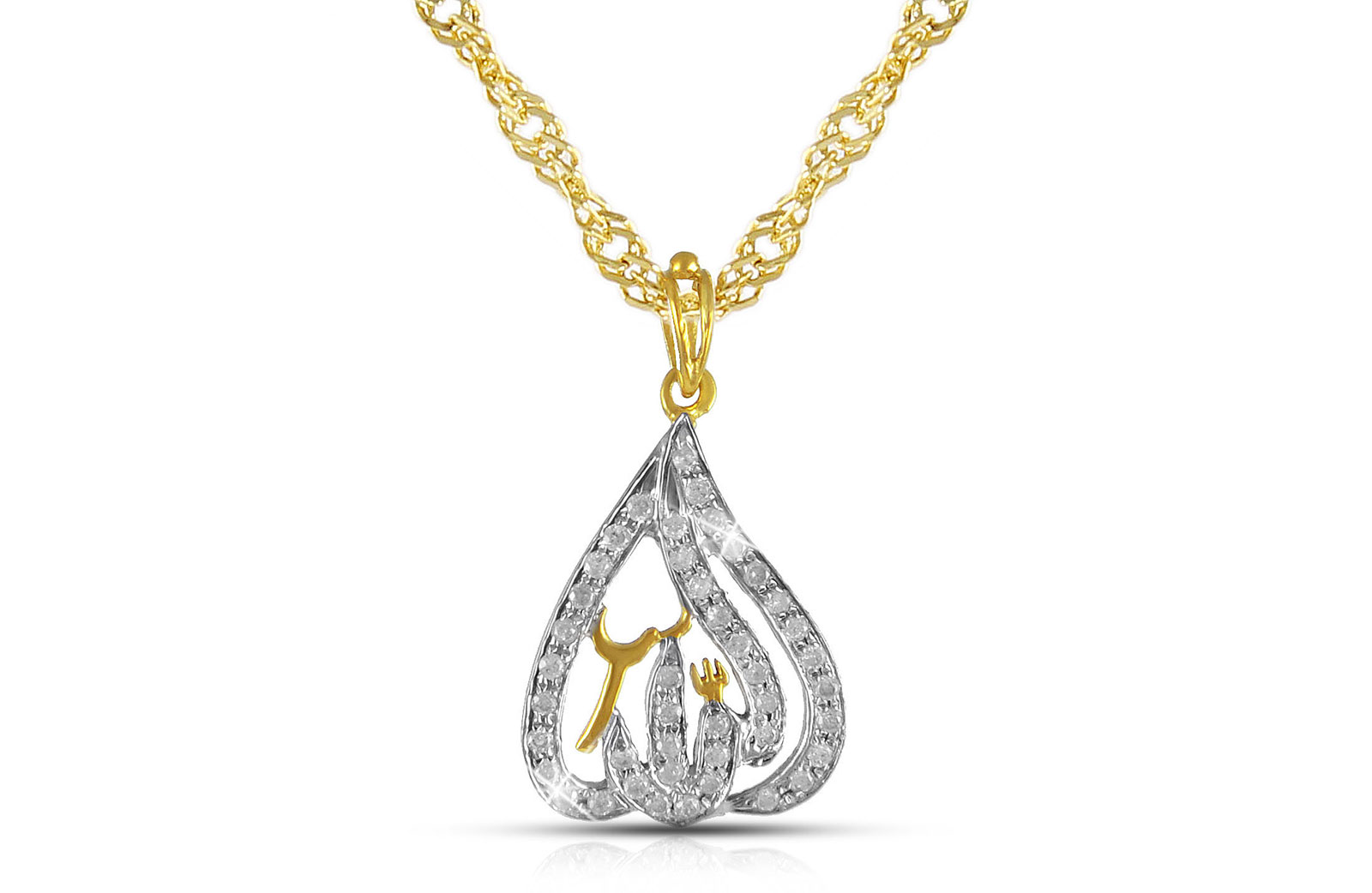 Vera Perla  18K Solid Gold and 0.25Cts Diamonds Drop Shape