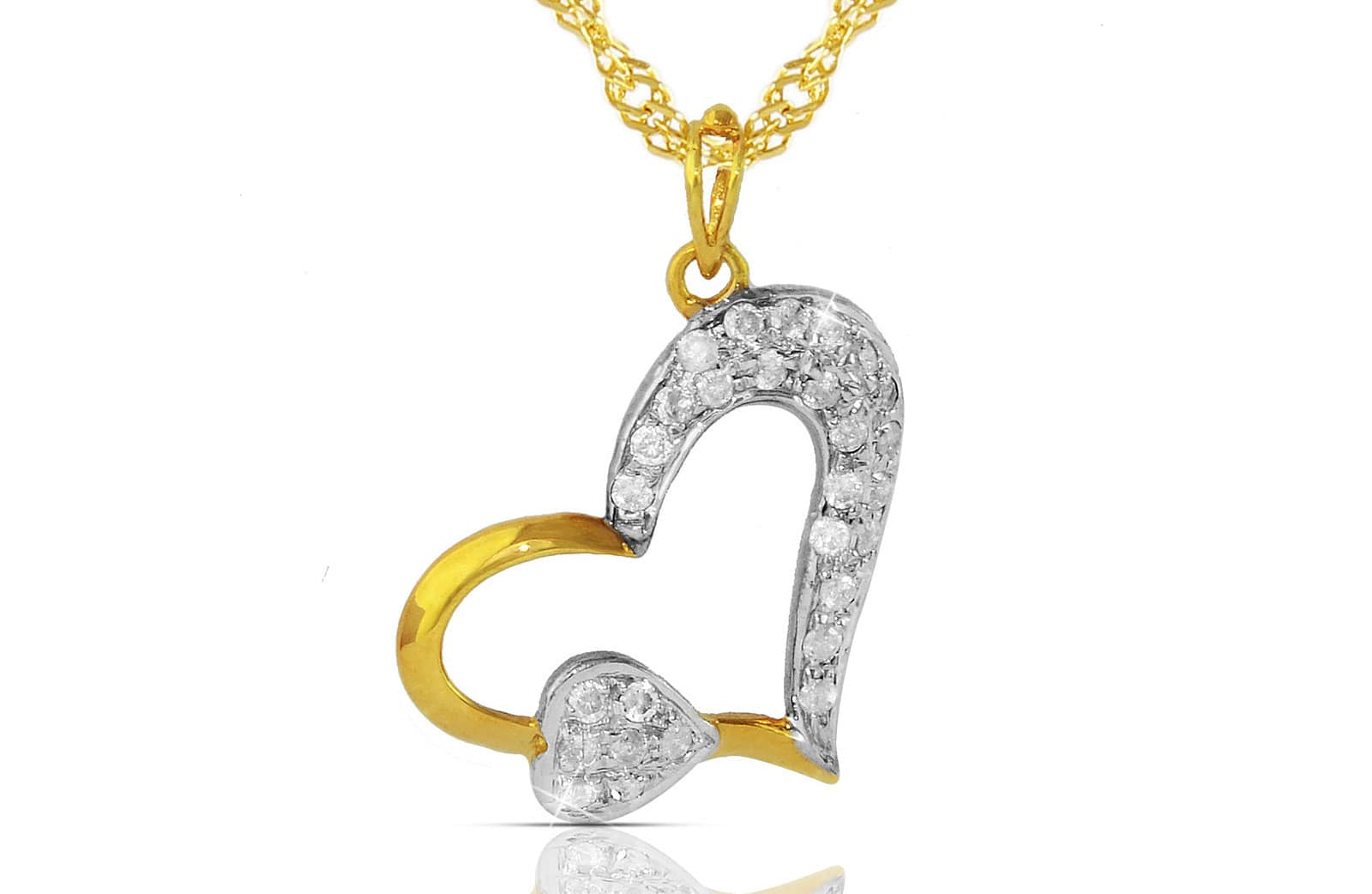Vera Perla 18K Solid Yellow Gold 0.28Ct Genuine Diamonds  Big Heart Holds Small Heart Necklace