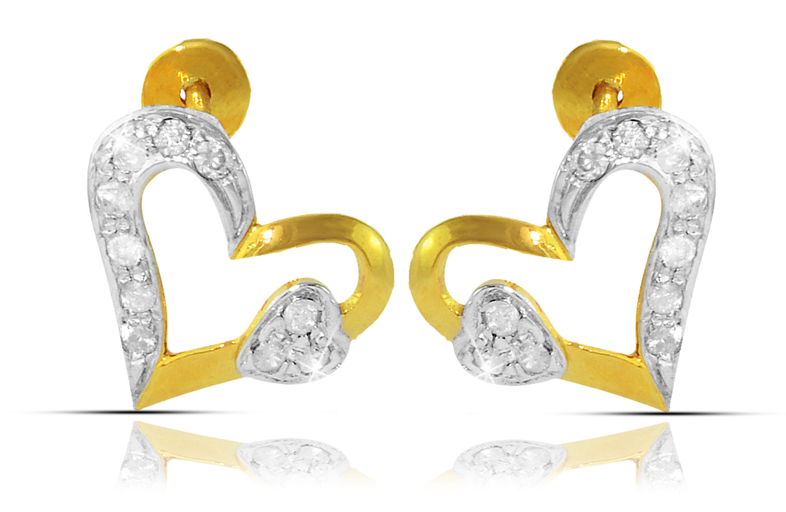 Vera Perla  18K Solid Yellow Gold 0.24Ct Genuine Diamonds  Big Heart Holds Small Heart Earrings