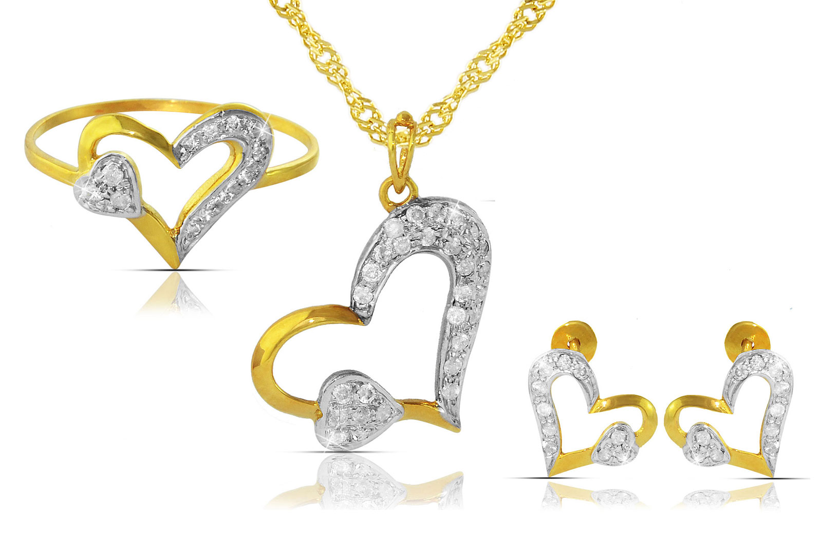 Vera Perla  18K Solid Yellow Gold 0.64Ct Genuine Diamonds  Big Heart Holds Small Heart Necklace, Earrings and Ring Set