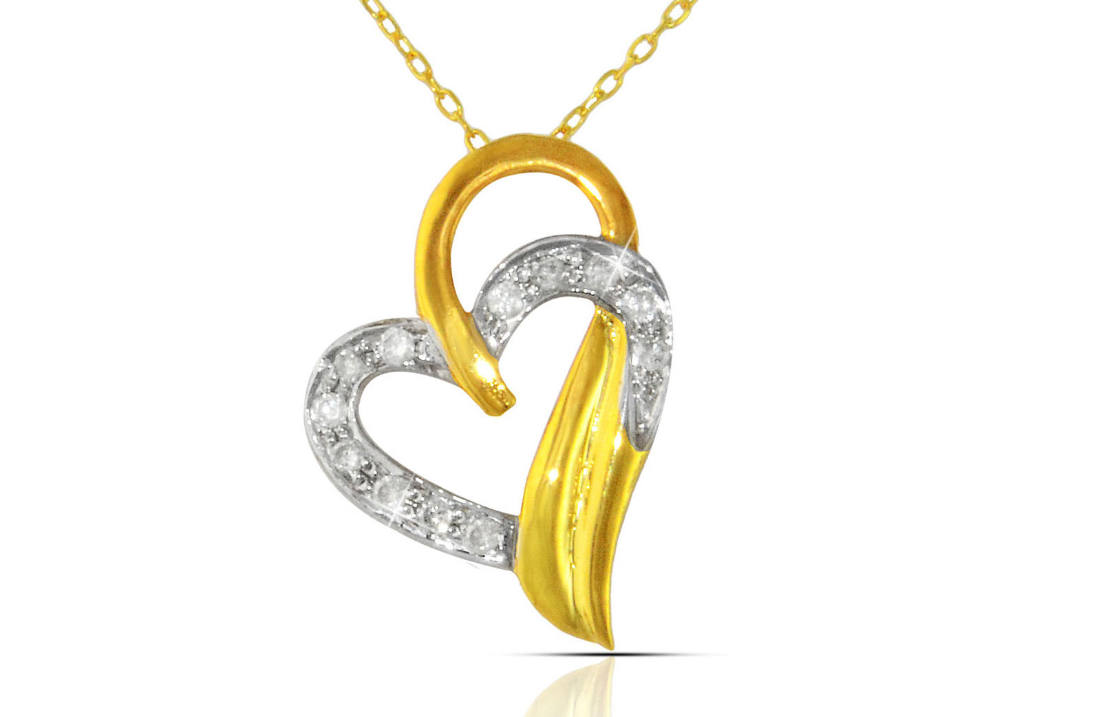 Vera Perla 18K Solid Yellow Gold 0.12Ct Genuine Diamonds  Overlapped Heart Necklace