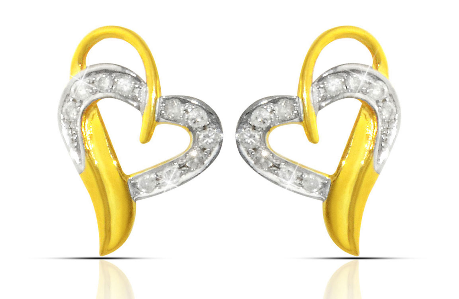Vera Perla  18K Solid Yellow Gold 0.24Ct Genuine Diamonds Overlapped  Heart Earrings
