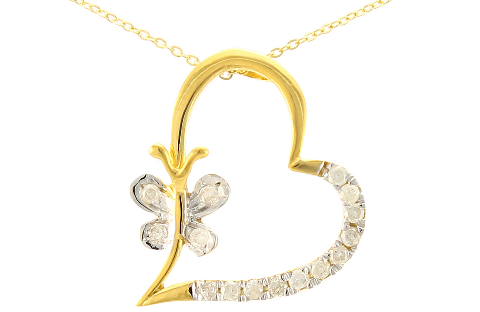 Vera Perla  18K Solid Gold and 0.15Cts Diamonds Butterfly Heart Necklace