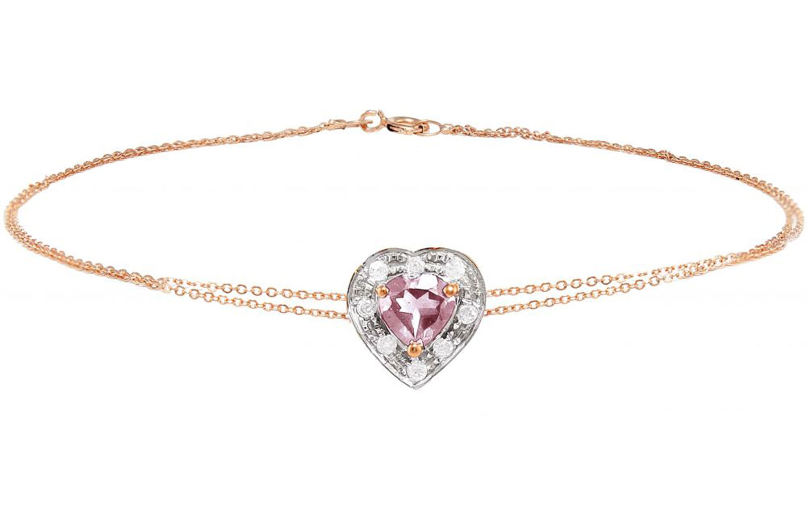 Vera Perla 18K Rose and White Gold and 0.08cts  Diamonds and 5mm Genuine Rose Quartz Heart Bracelet