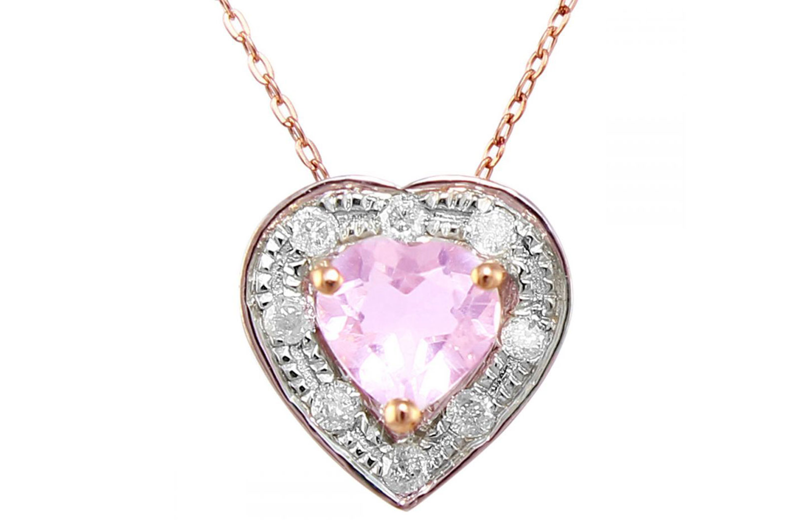 Vera Perla 18K Rose and White Gold and 0.08cts  Diamonds and 5mm Genuine Rose Quartz Heart Necklace