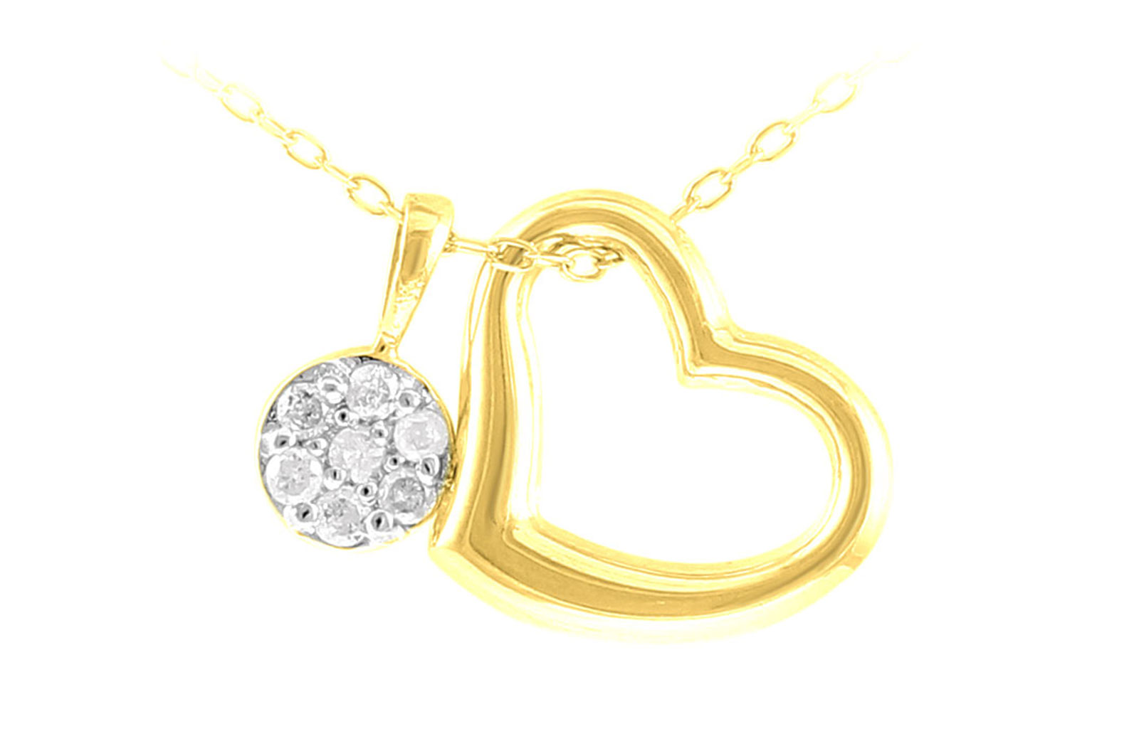 Vera Perla  18K Yellow and White Gold 0.07Cts Genuine Diamonds  Solitaire and Opened Heart  Necklace