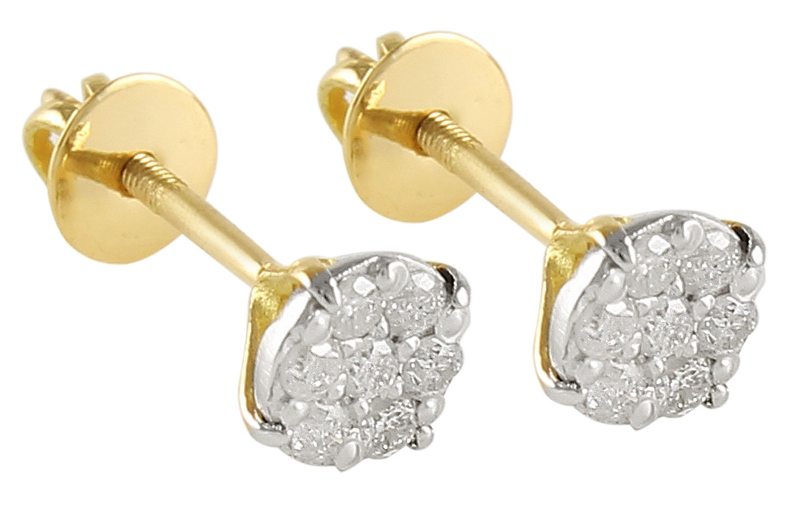 Vera Perla 10k Solid Gold and 0.14cts Genuine Diamonds Solitaire Screw Back Earrings