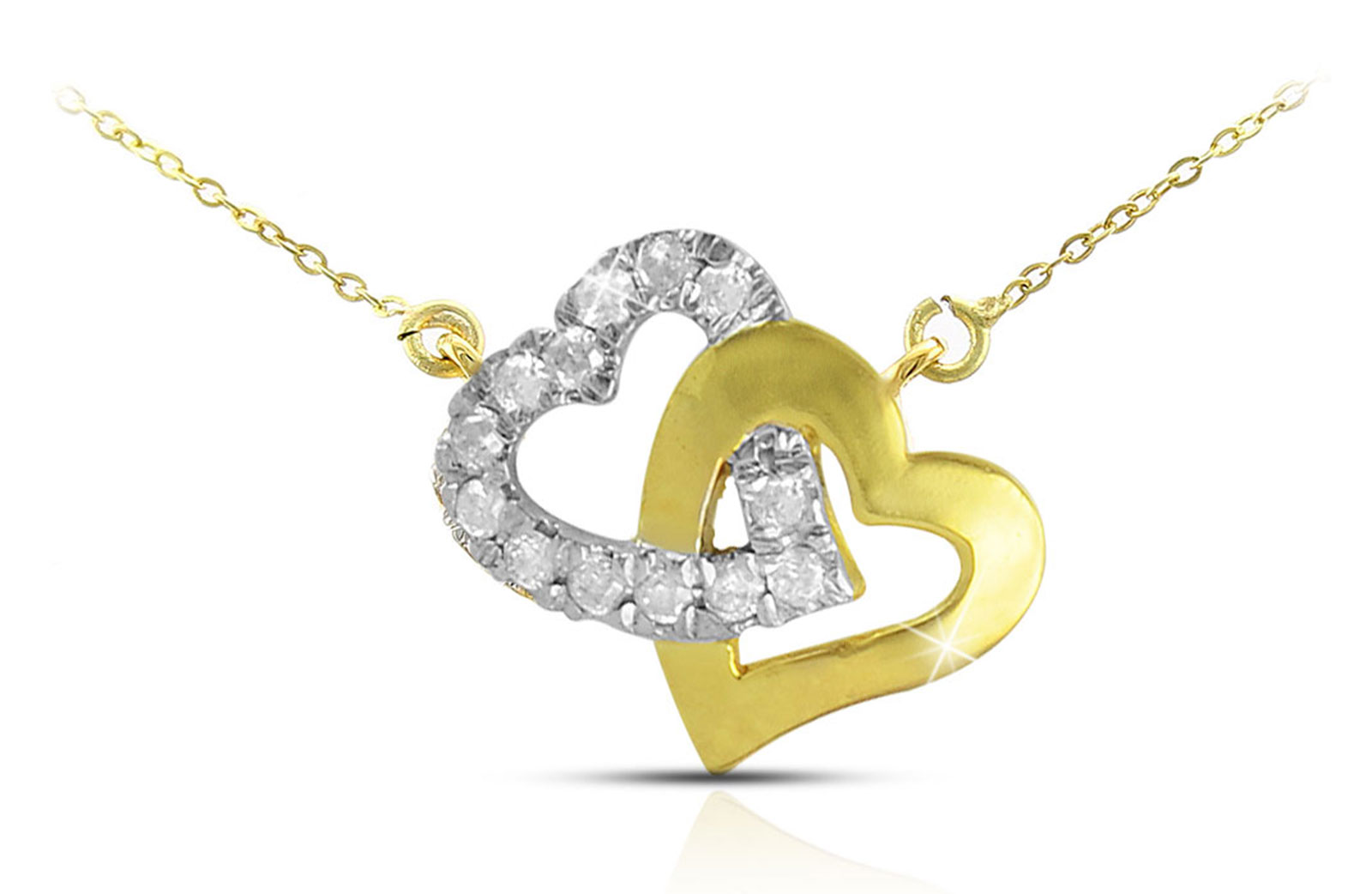 Vera Perla 18K Solid Gold and 0.15Cts Diamonds Interlocking Hearts Necklace