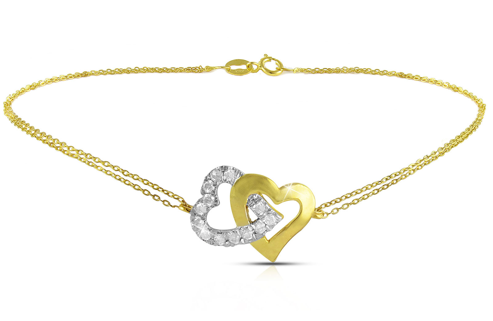 Vera Perla 18K Solid Gold and 0.15Cts Diamonds Interlocking Hearts Double Link Bracelet