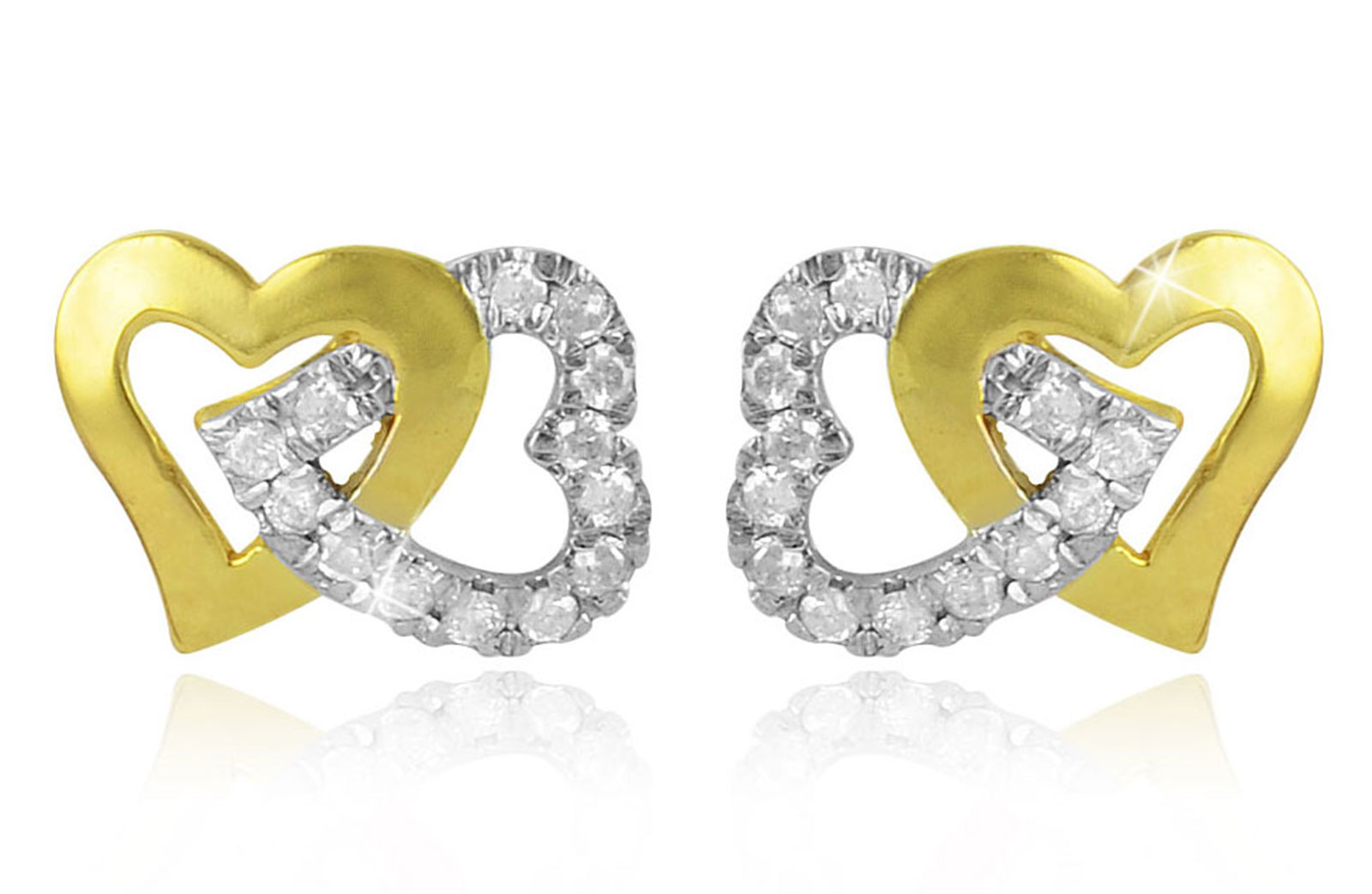 Vera Perla 18K Solid Gold and 0.30Cts Diamonds Interlocking Hearts Earrings
