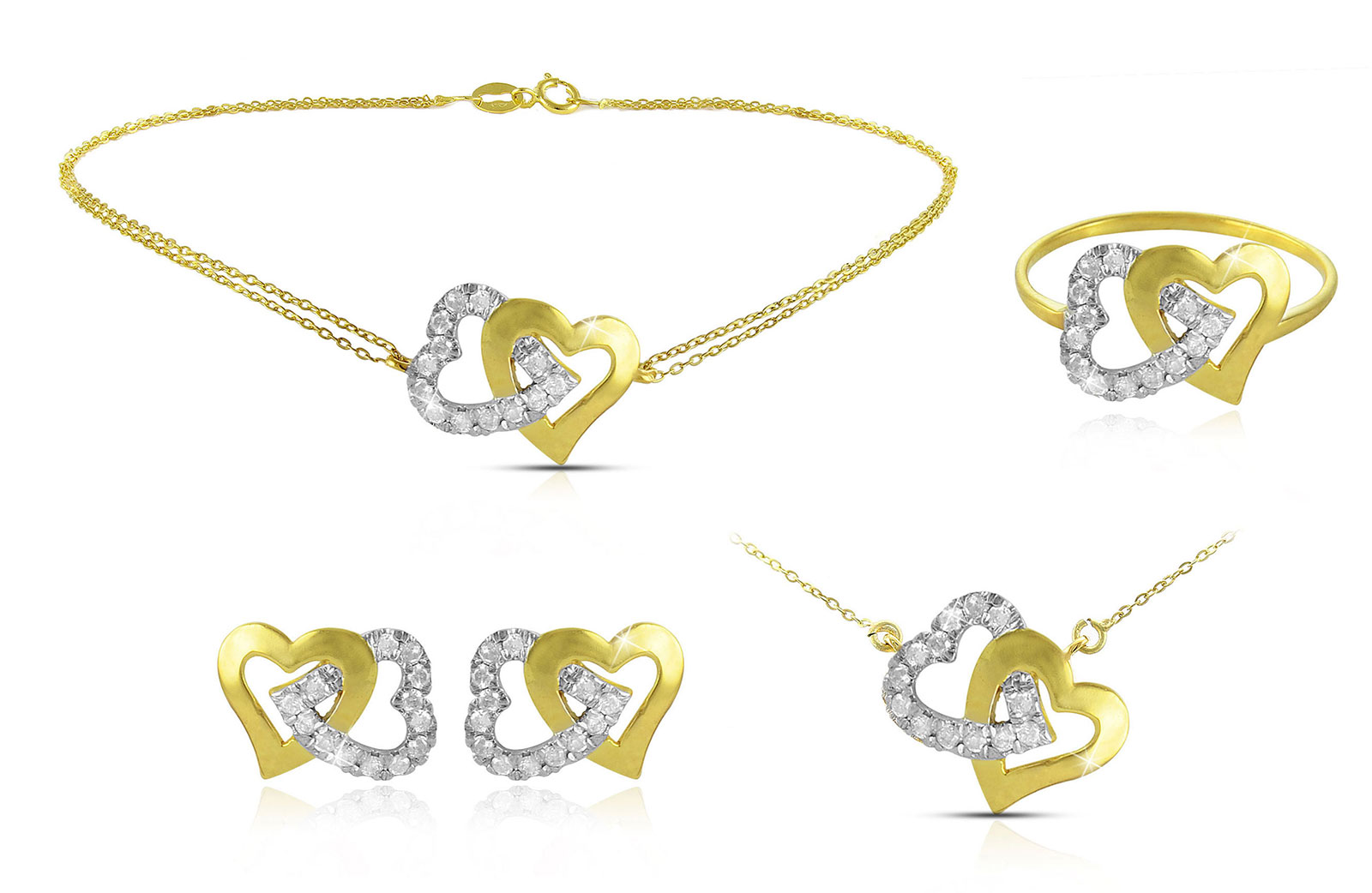 Vera Perla  18K Solid Gold and 0.11Cts Diamonds Interlocking Hearts Necklace, Bracelet, Earrings, Ring