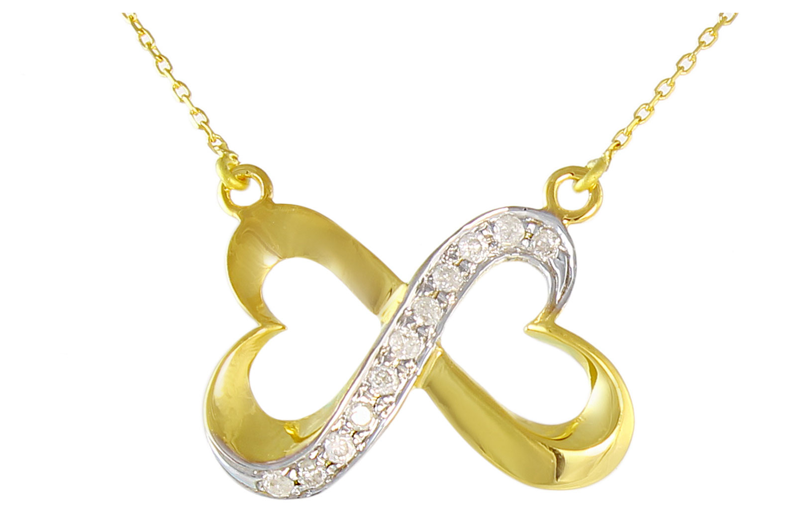 Vera Perla  18K Solid Gold and 0.11Cts Diamonds Interlocking Hearts Necklace