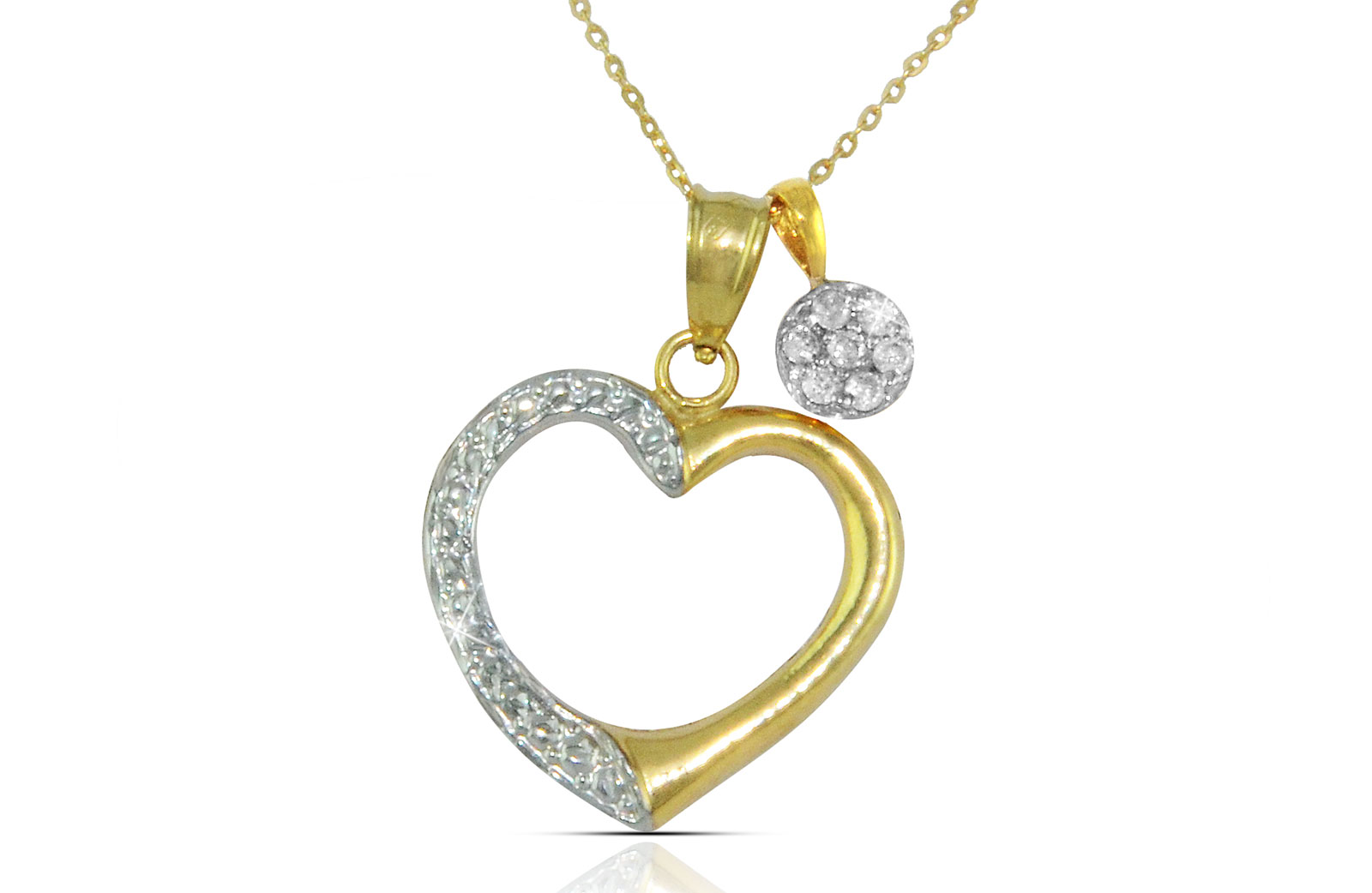 Vera Perla  18K Solid Gold 0.07Cts Genuine Diamonds Heart and Solitaire Necklace