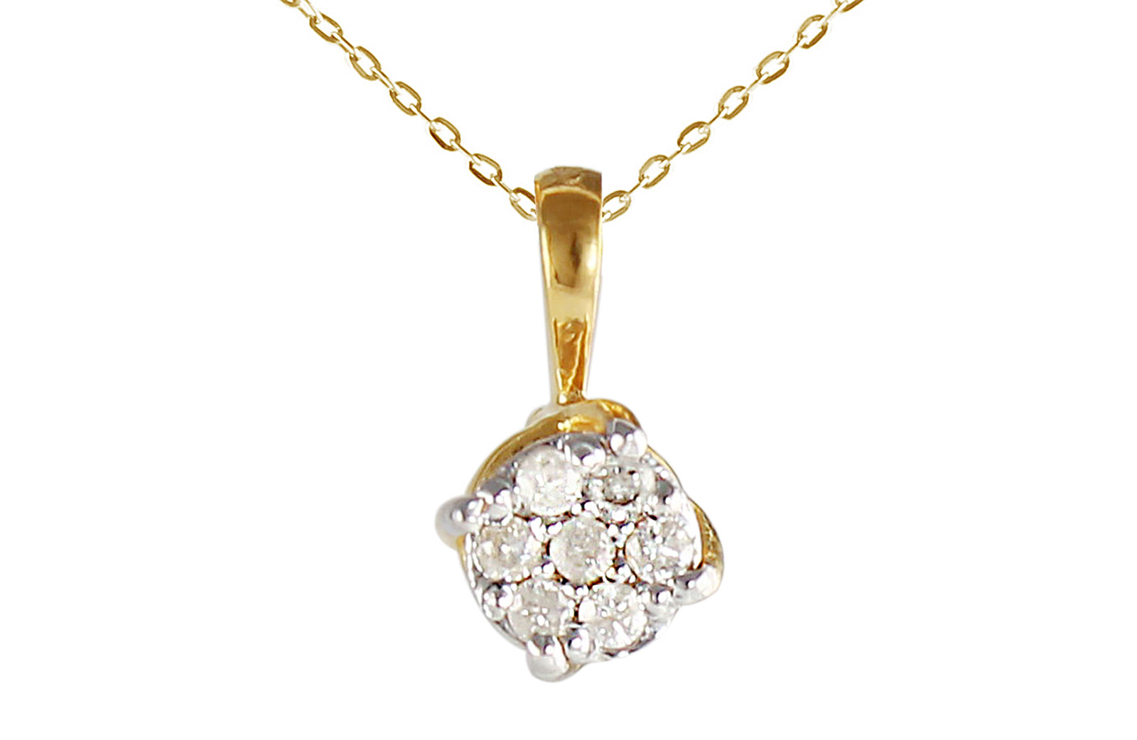 Vera Perla 10k Solid Yellow Gold 0.07CTS Genuine Diamonds Twisted Solitaire Necklace