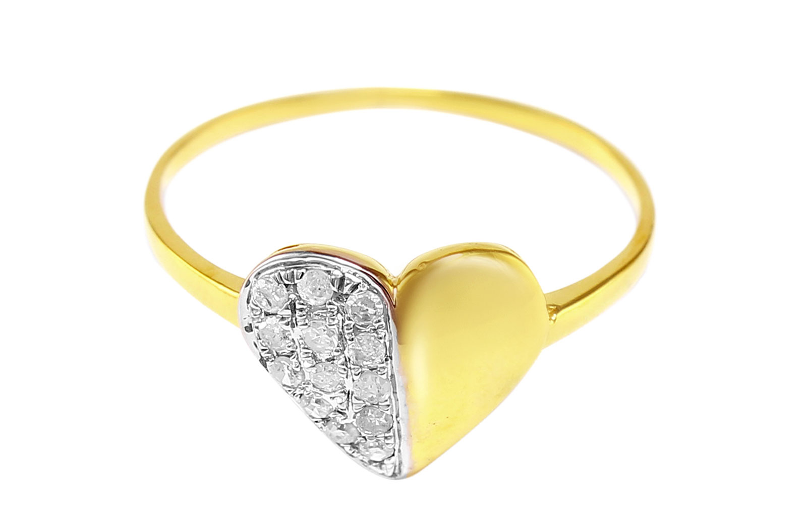 VP Jewels 10K Solid Gold 0.13ct Genuine Diamond Heart Ring - Size US 6.5