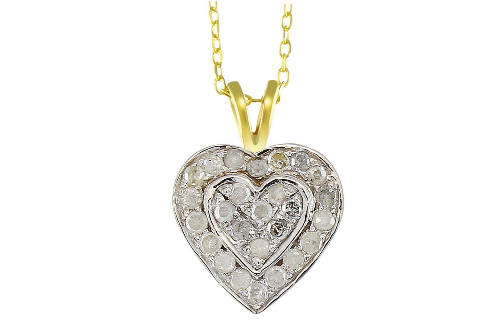 Vera Perla 10k Solid Yellow and White GOLD 0.26CT GENUINE Full DIAMONDS Heart Necklace