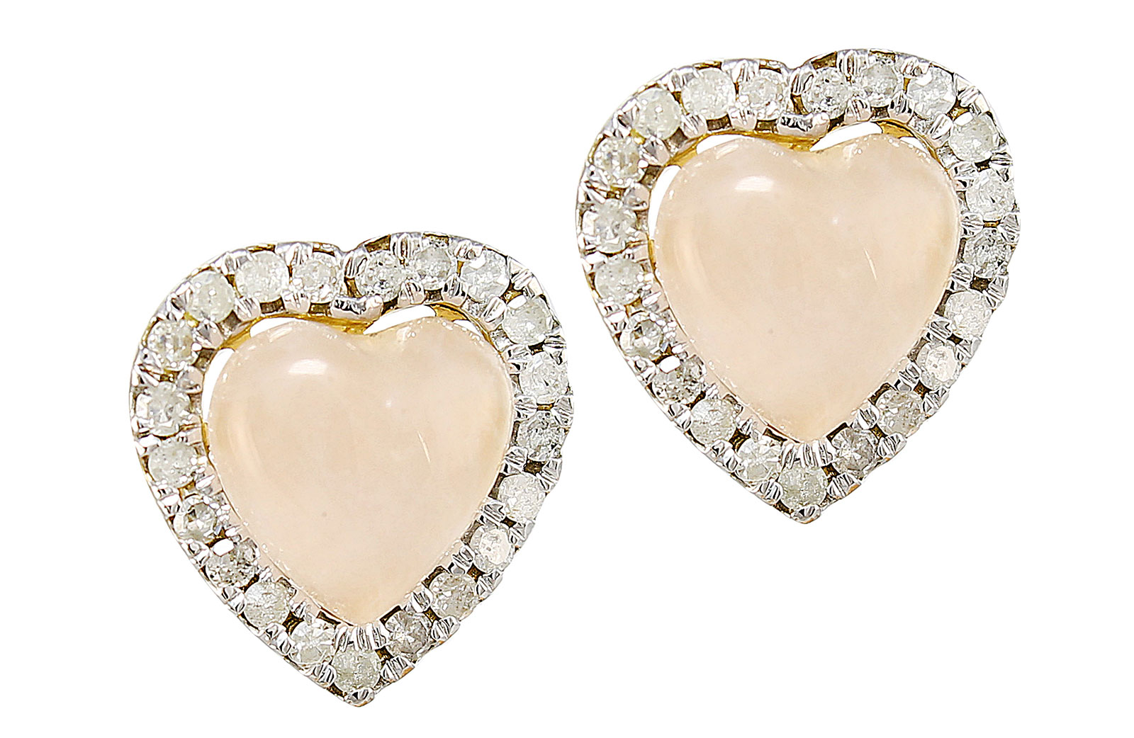 Vera Perla 10K Yellow and White GOLD 9mm Genuine Heart Cabochon Cut Rose Quartz 0.42CT GENUINE DIAMONDS EARRINGS