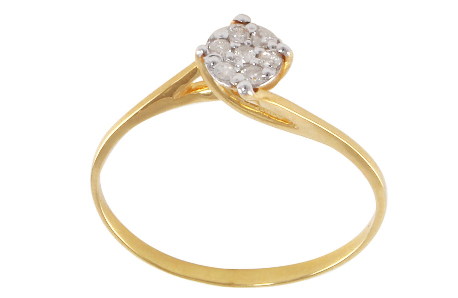 Vera Perla  22K  Gold 0.07KTS Genuine Diamonds TWISTED SOLITAIRE RING -SIZE 6 US