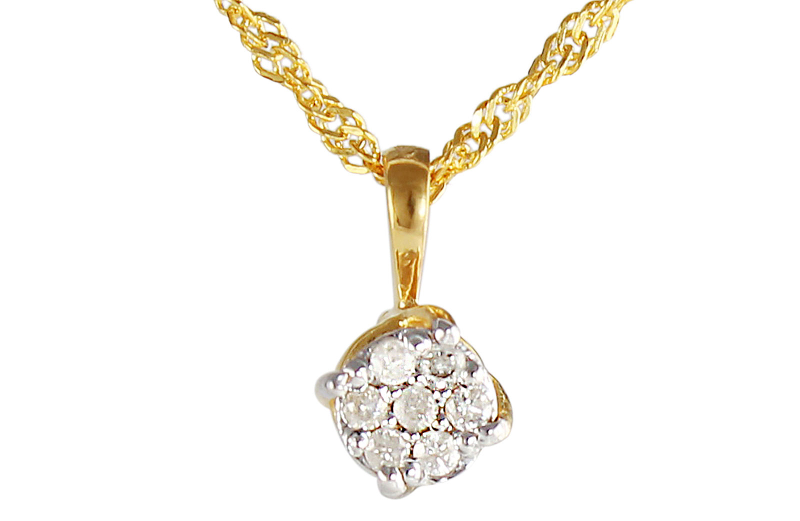 Vera Perla Jewels 22K Solid Gold 0.7cts Twisted Solitaire Pendant + 18K Chain Necklace