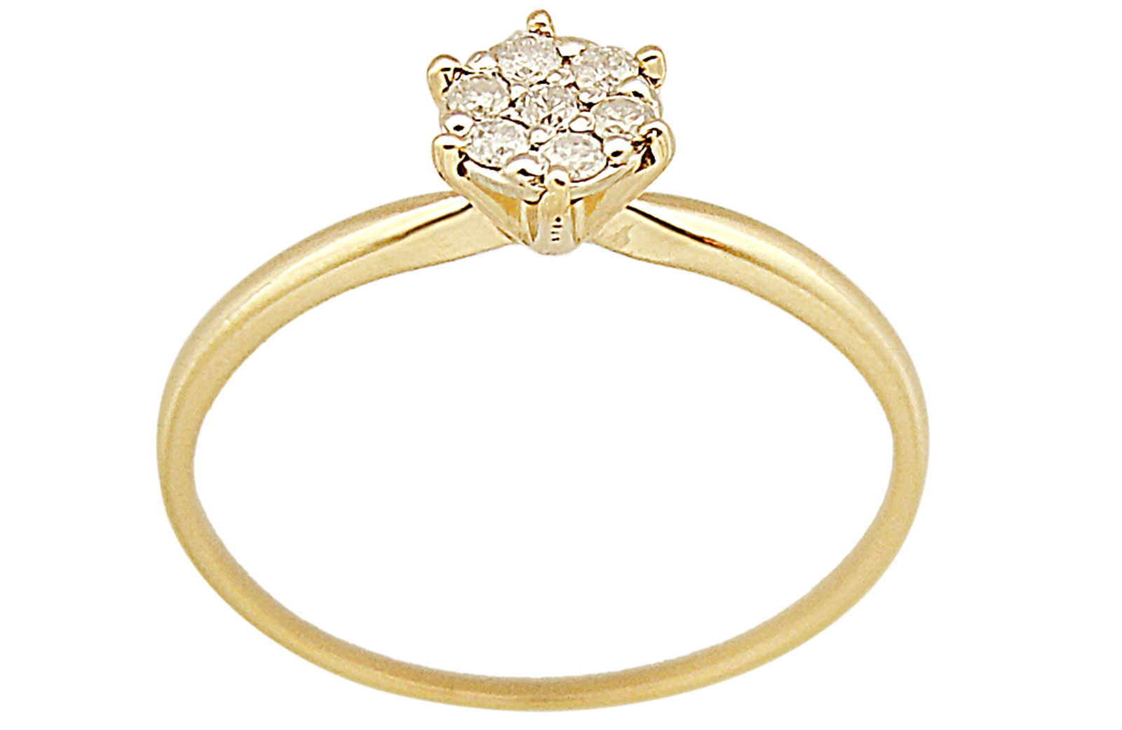 Vera Perla 18K Solid Yellow Gold 0.07Cts Genuine Diamonds  Solitaire Ring