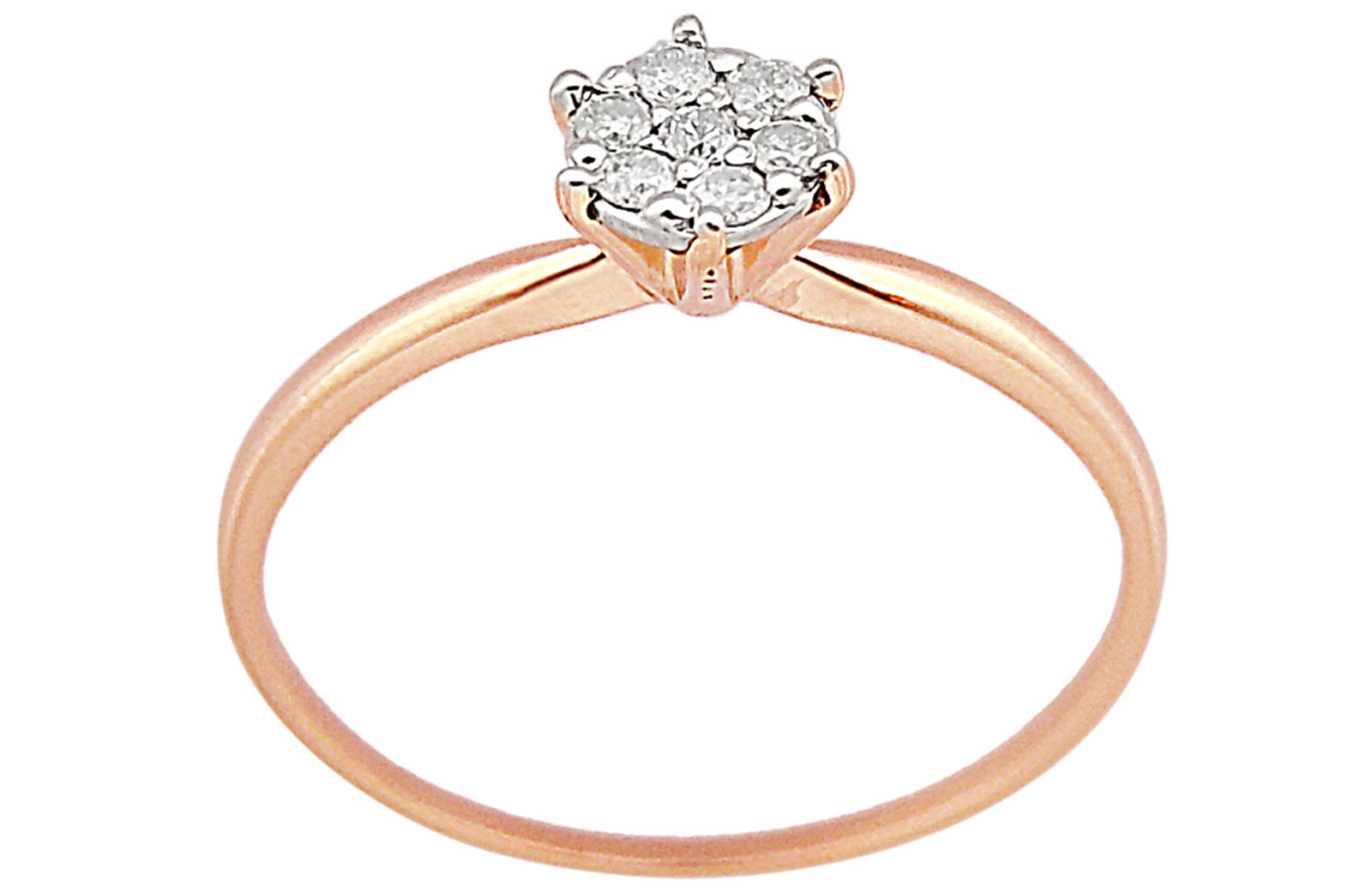 Vera Perla  18K Solid Rose Gold 0.07Cts Genuine Diamonds  Solitaire Ring