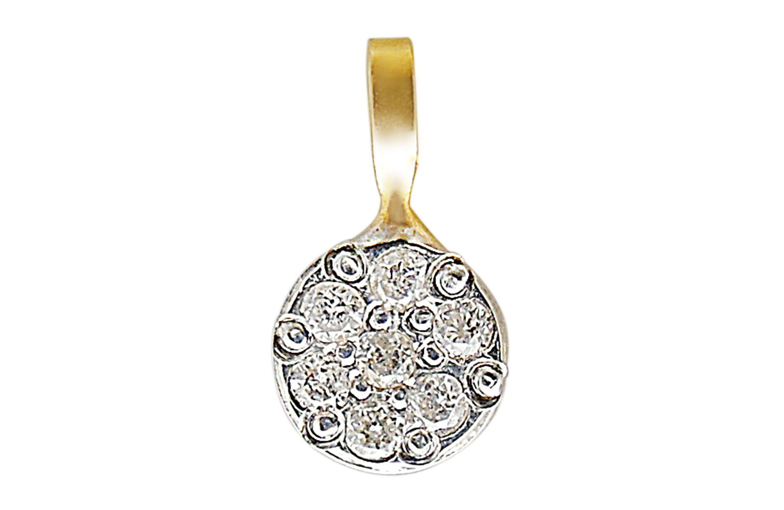Vera Perla 18K Solid  Gold and Genuine Diamonds  Solitaire Pendant