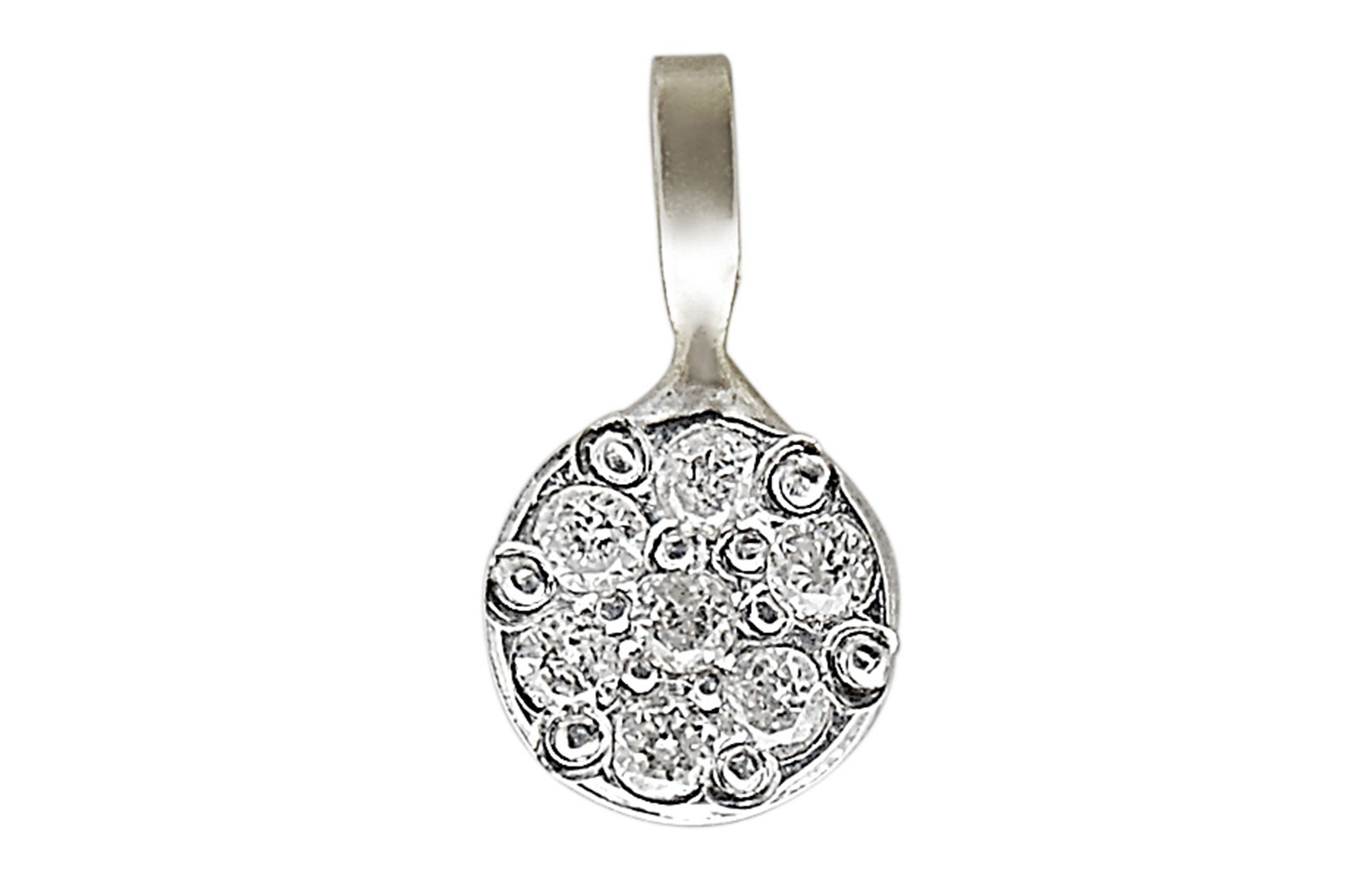 Vera Perla  18K Solid White Gold and Genuine Diamonds  Solitaire Pendant