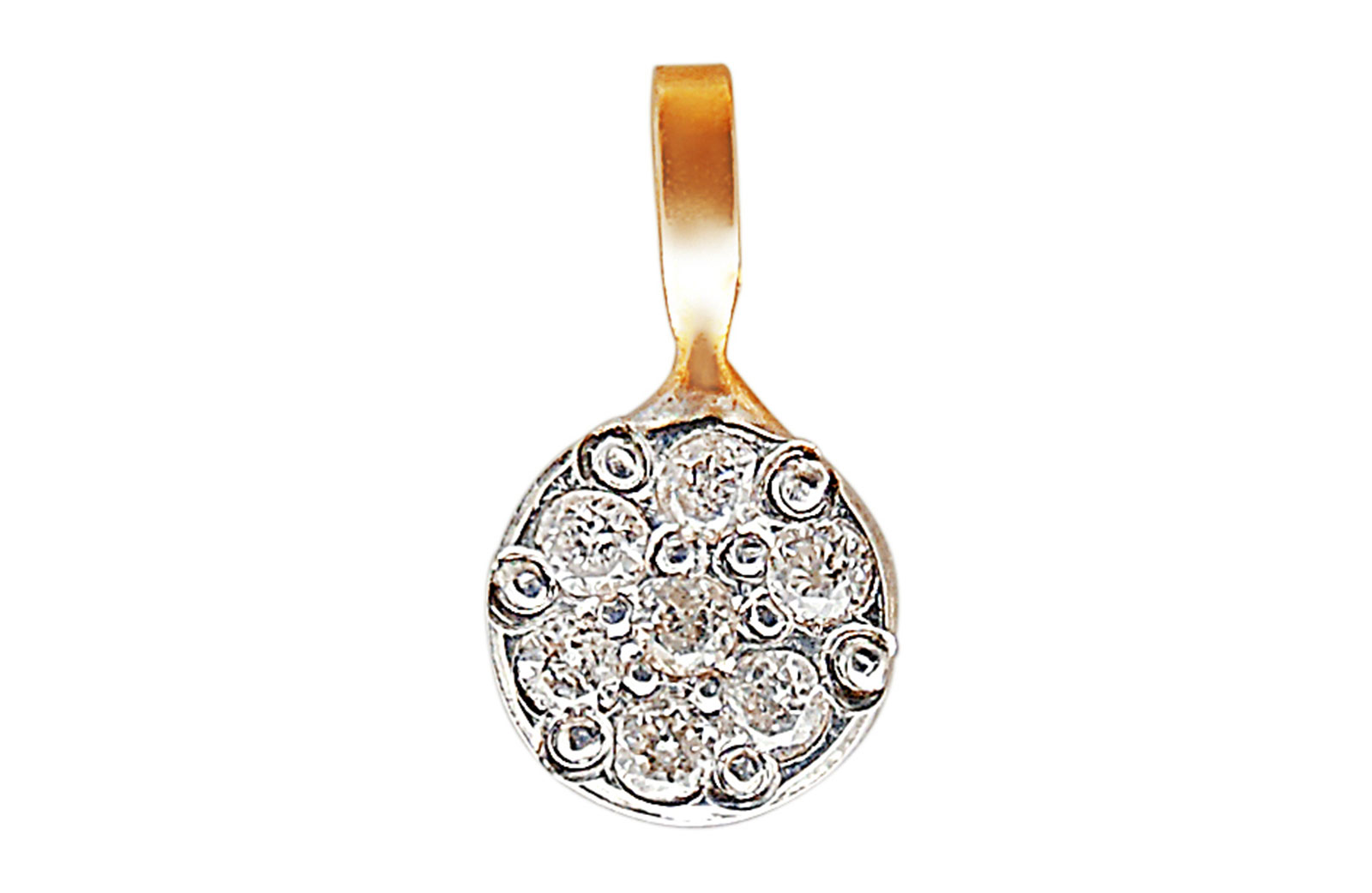 Vera Perla 18K Solid Rose Gold and Genuine Diamonds  Solitaire Pendant