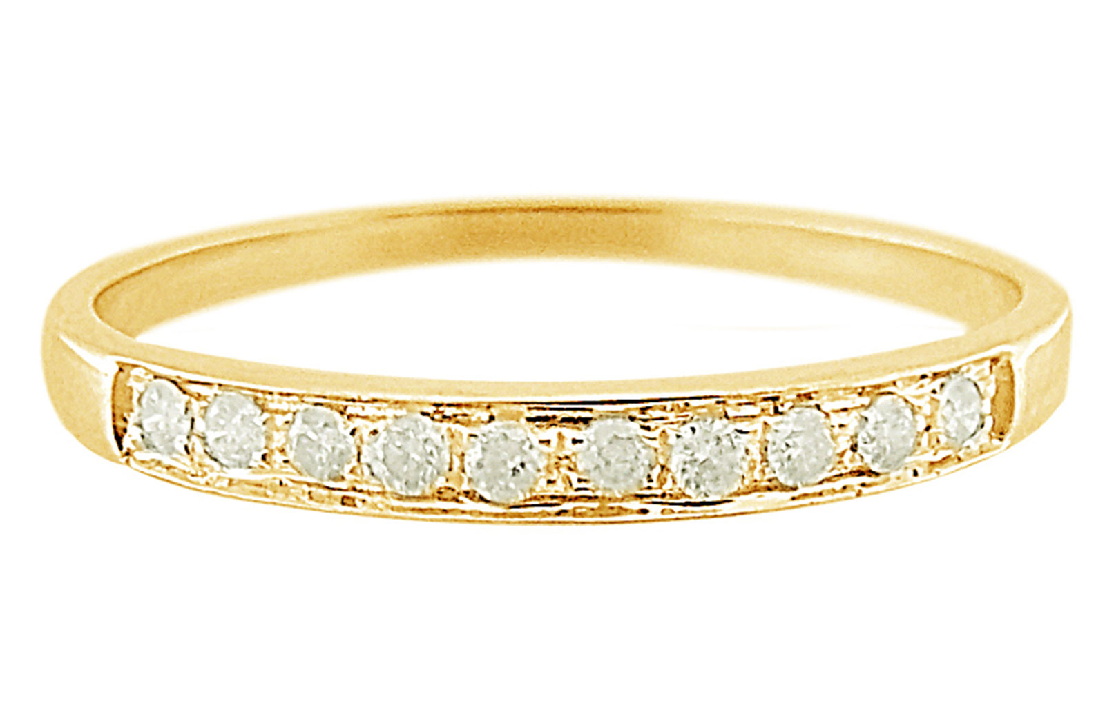 Vera Perla 18K Solid Yellow Gold 0.10Cts Genuine Diamonds Eternity Band Ring