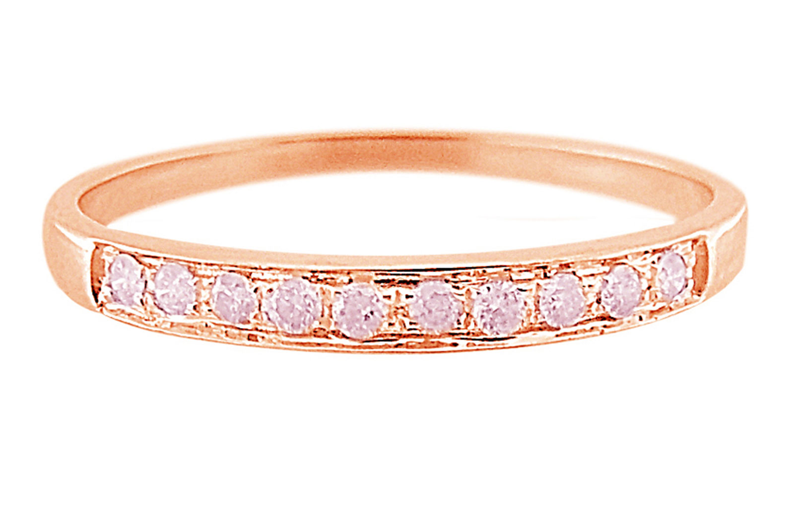 Vera Perla  18K Solid Rose Gold 0.10Cts Genuine Diamonds Eternity Band Ring