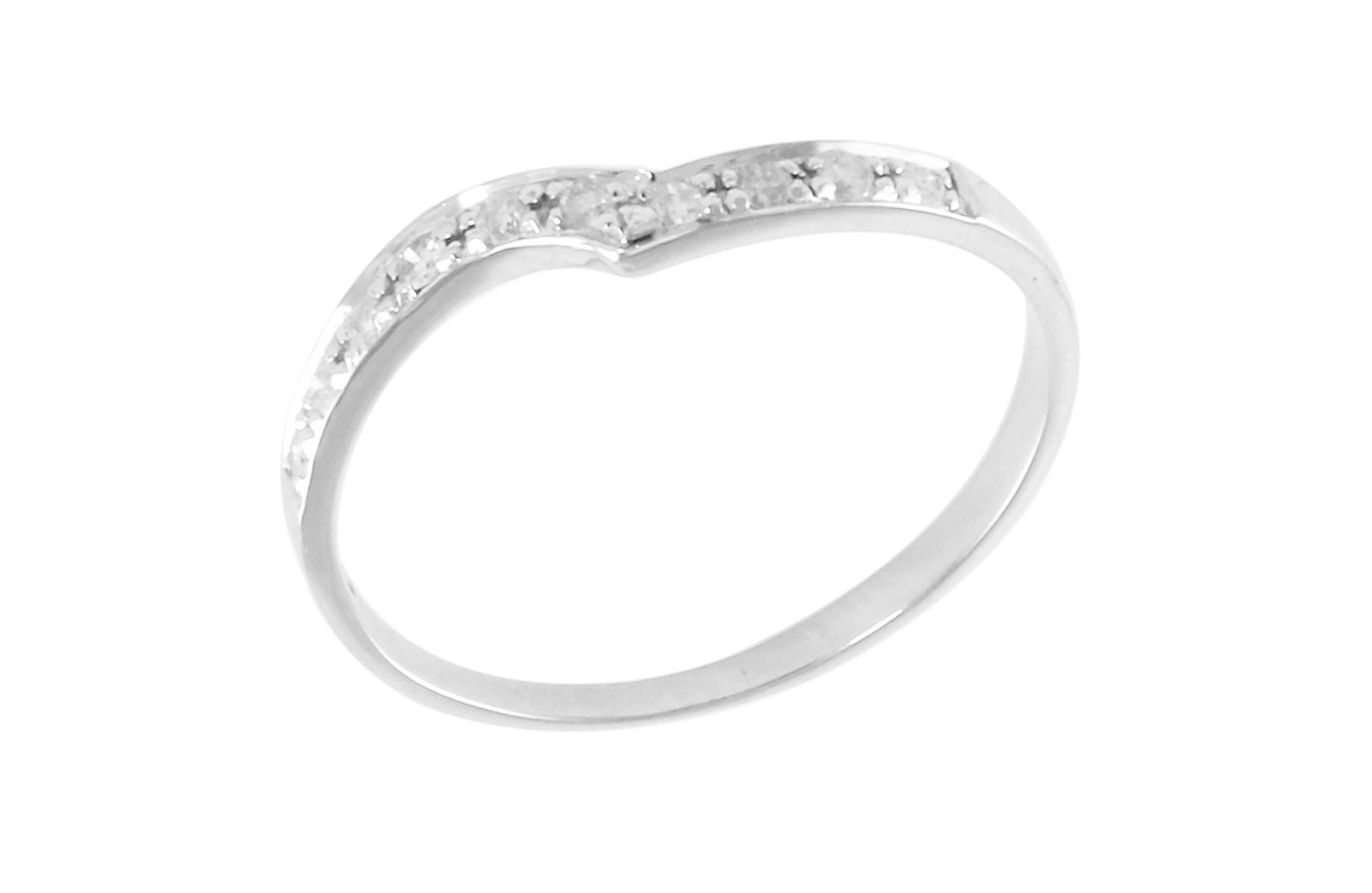Vera Perla  18K White Gold 0.10Cts Genuine Diamonds Twisted Eternity Band Ring