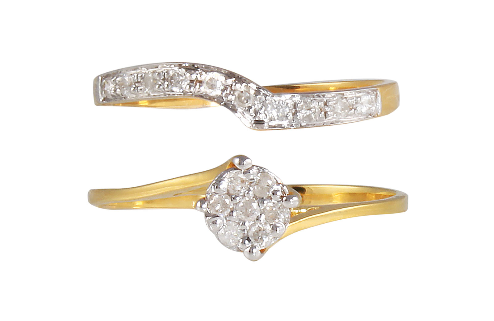 Vera Perla 18K Solid Yellow Gold 0.14Cts Genuine Diamonds  Twisted Engagement Rings Set -Size 6 US