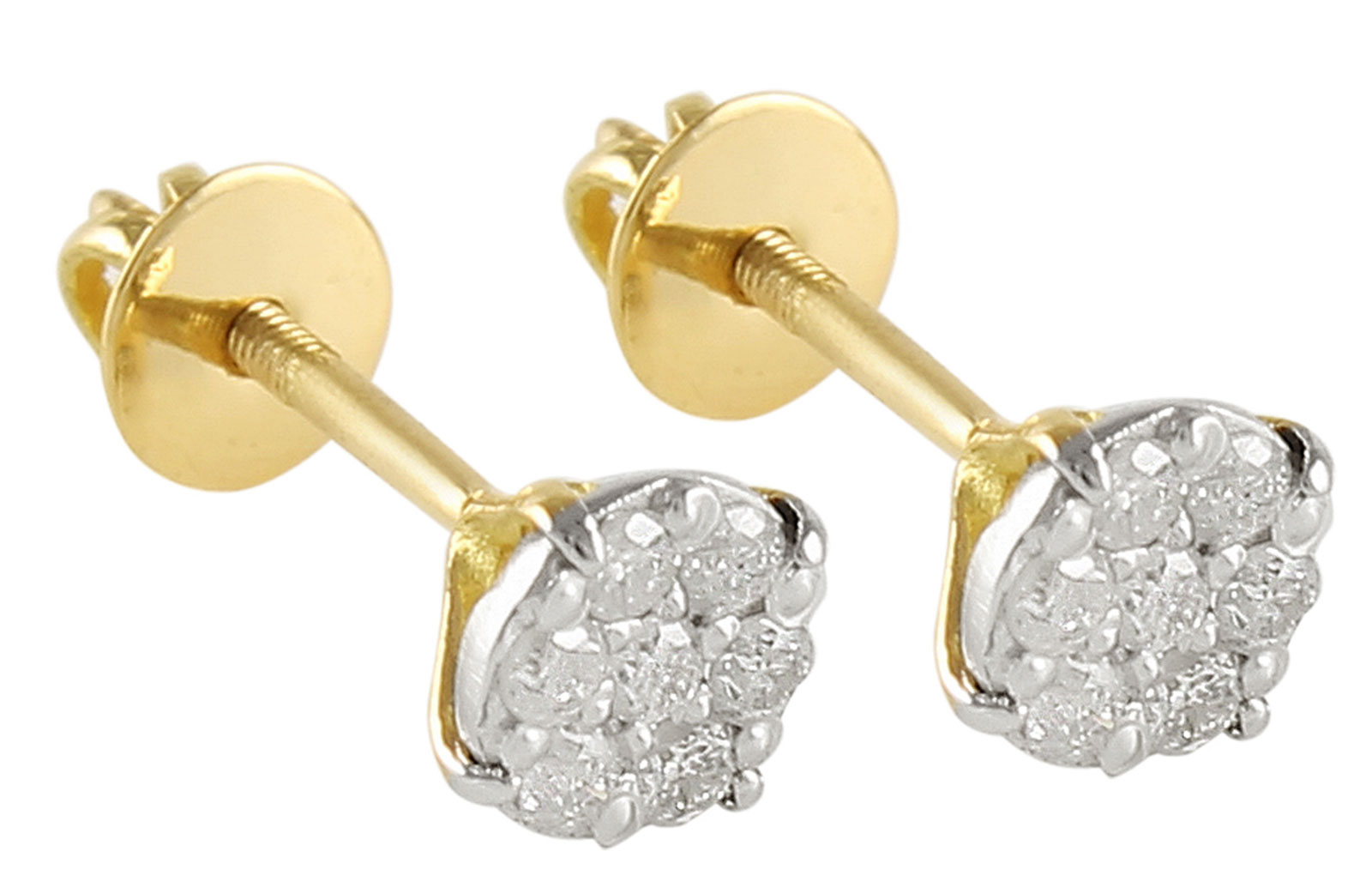 Vera Perla 18K Solid Gold and 0.14Cts Genuine Diamonds Solitaire Screw Back Earrings