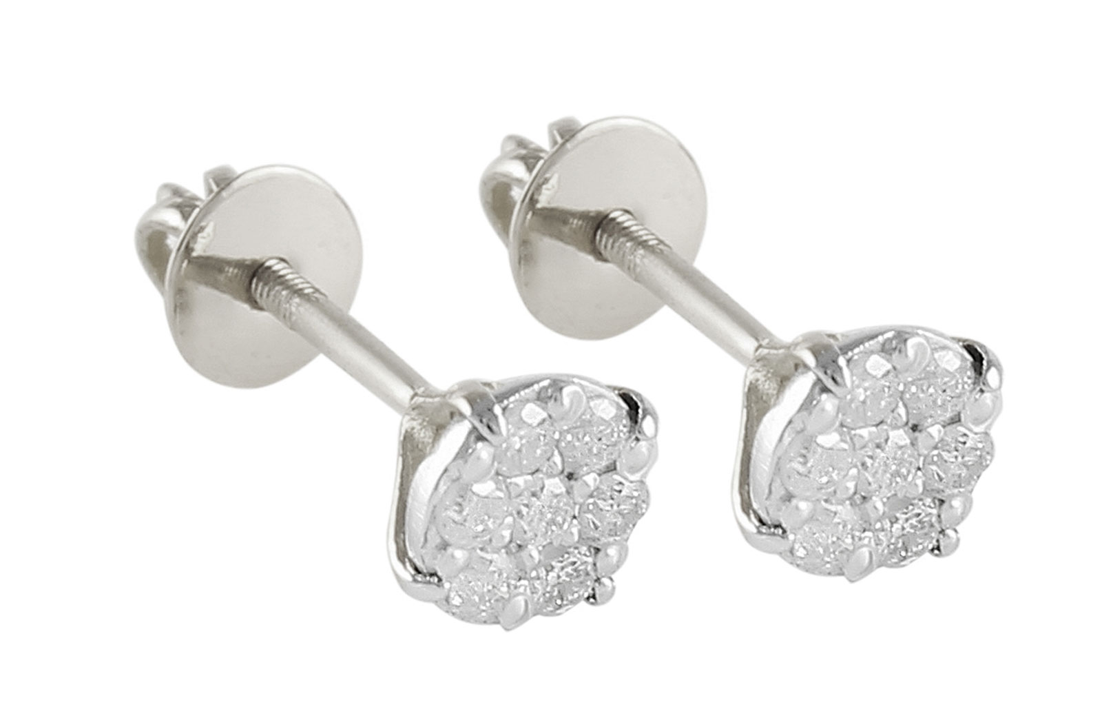 Vera Perla 18K Solid White Gold and 0.14Cts Genuine Diamonds Solitaire Screw Back Earrings