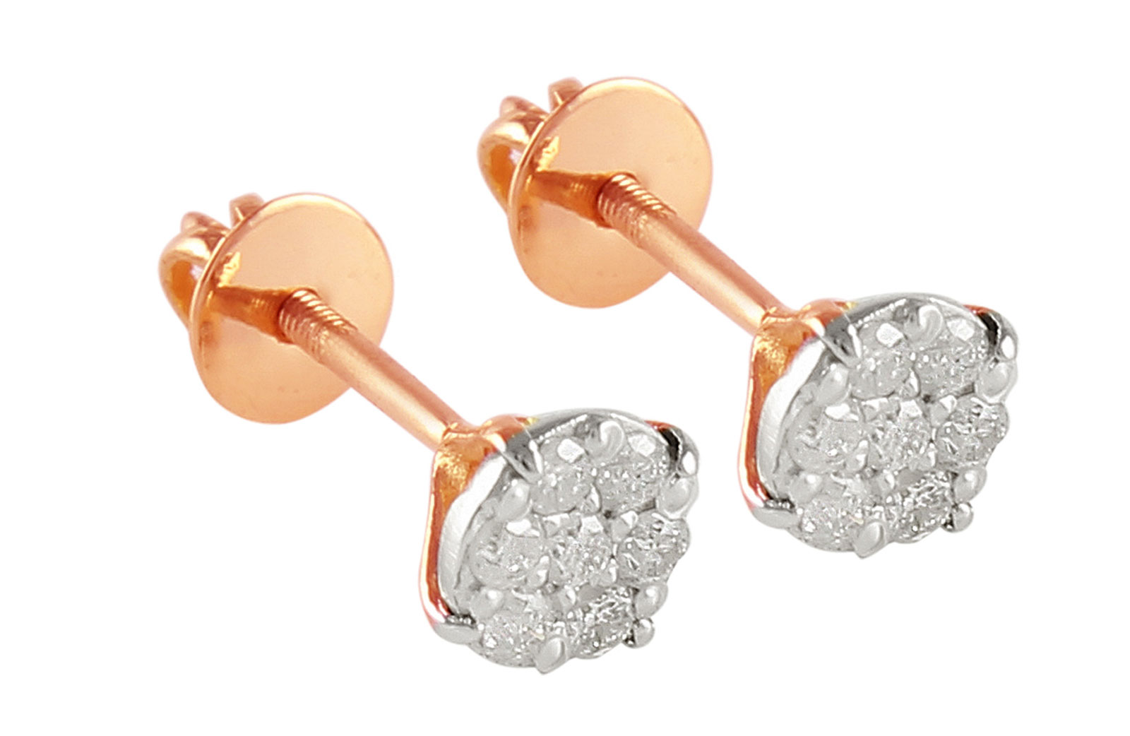 Vera Perla 18K Solid Rose Gold and 0.14Cts Genuine Diamonds Solitaire Screw Back Earrings