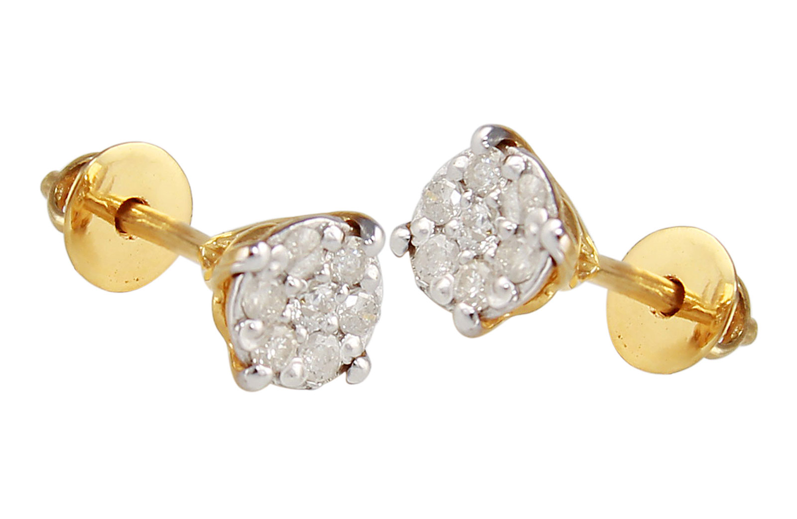 Vera Perla 18K Solid Yellow Gold and 0.14Cts Genuine Diamonds Twisted Solitaire Push Back Earrings