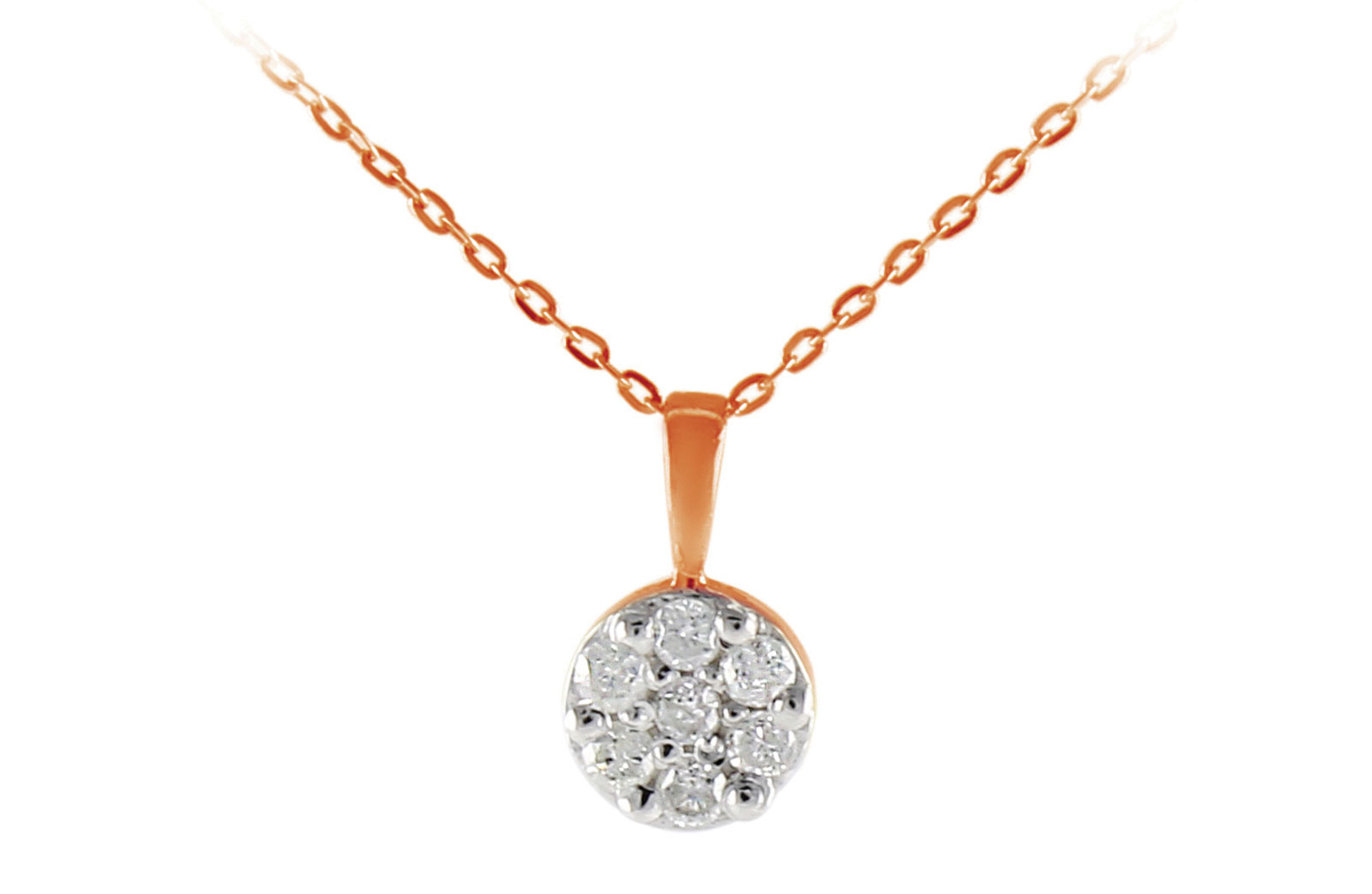 Vera Perla  18K Solid Rose Gold 0.07Cts Genuine Diamonds Solitaire Necklace