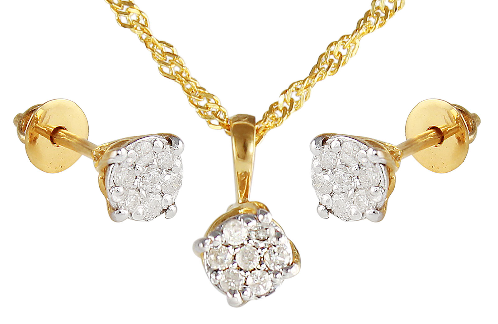 Vera Perla 18K Solid Yellow Gold 0.21Cts Genuine Diamonds Twisted Solitaire Necklace +Earrings Set