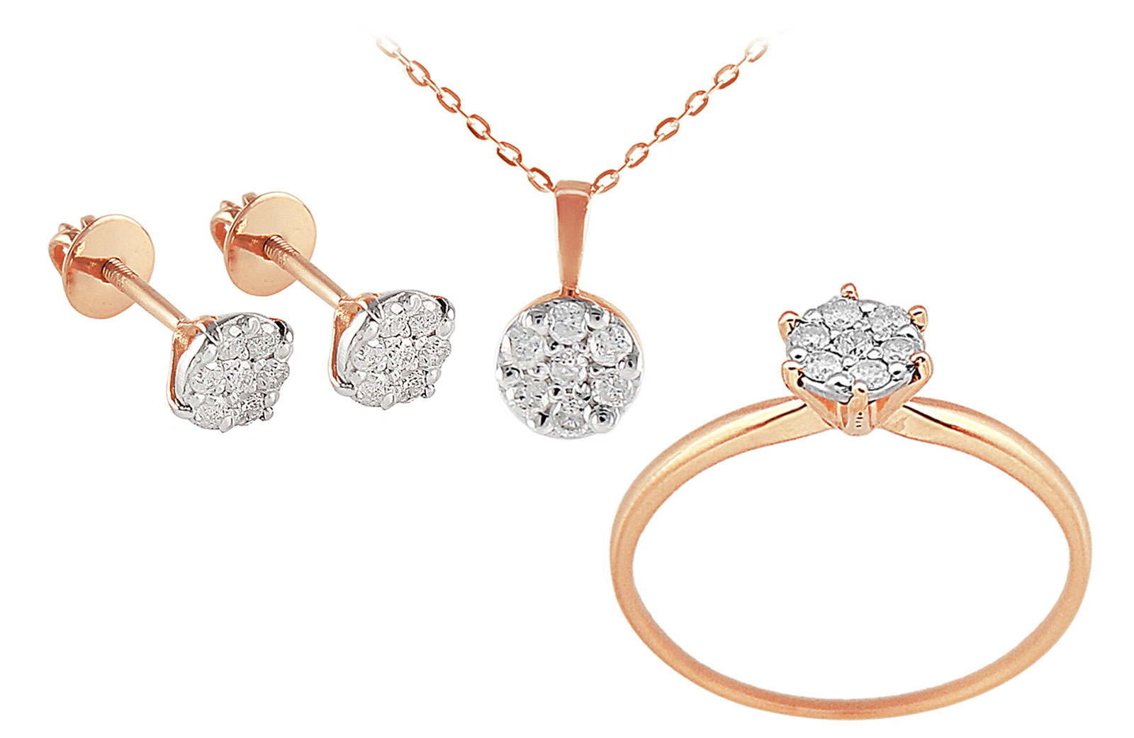 Vera Perla 18k Rose Solid Gold Diamonds Solitaire Earrings, Ring and Necklace Set
