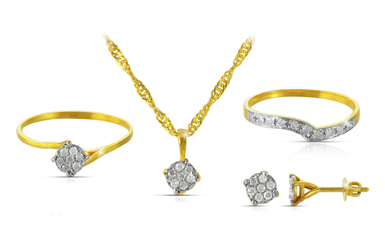 Vera Perla 18K Solid Yellow Gold 0.07Cts Genuine Diamonds Twisted Solitaire Necklace +Earrings Set