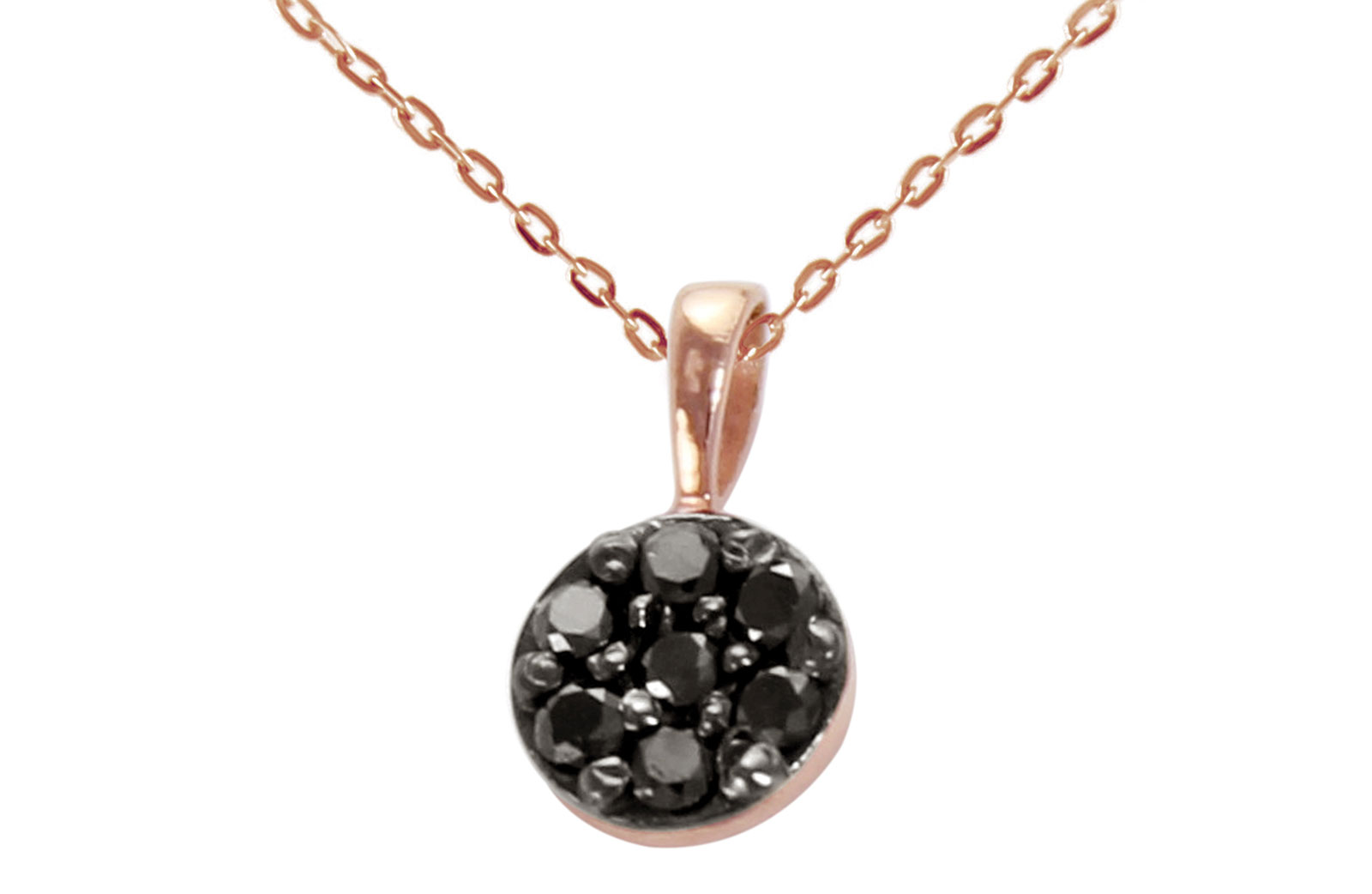 Vera Perla  18K Solid Black and Rose Gold 0.07Cts Genuine Black Diamonds Solitaire Necklace