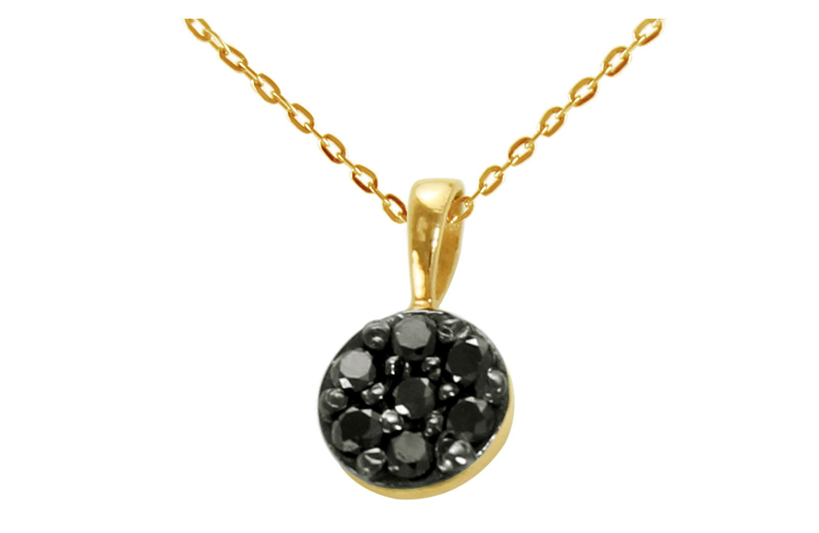 Vera Perla  18K Solid Black and Yellow Gold 0.07Cts Genuine Black Diamonds Solitaire Necklace