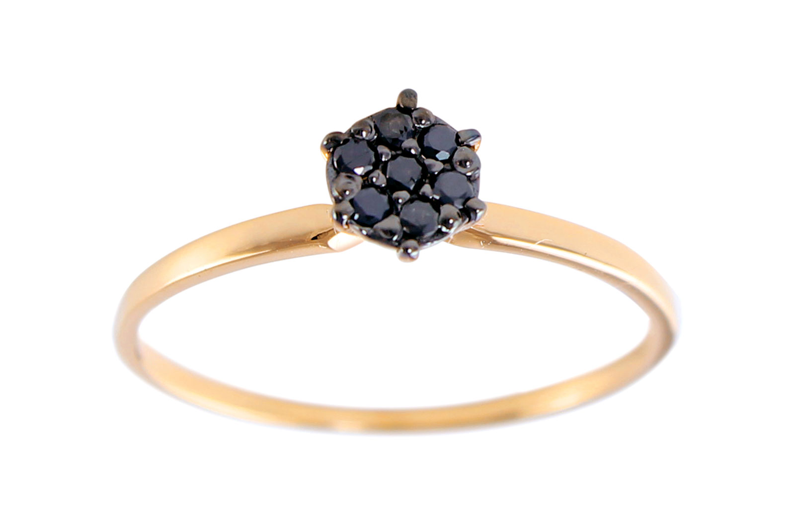 Vera Perla 18K Solid Black and Rose Gold 0.07Cts Genuine Diamonds  Solitaire Ring -Size 6.5 US